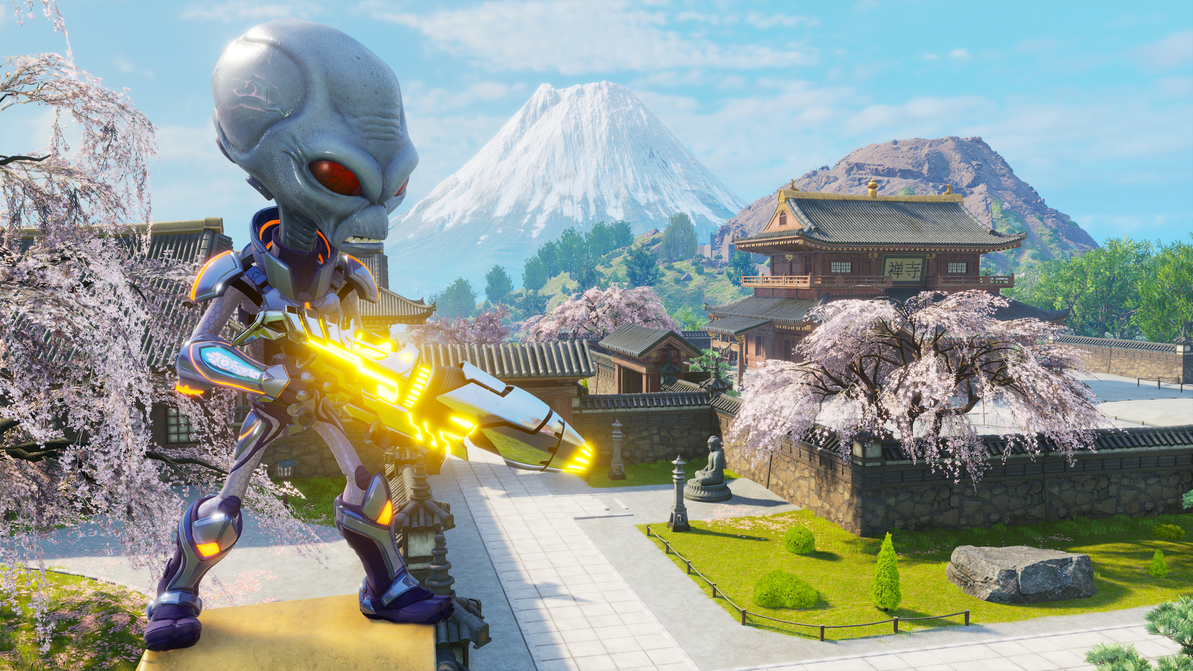 Crypto overlooks a Japanese town in Destroy All Humans! 2 - Reprobed
