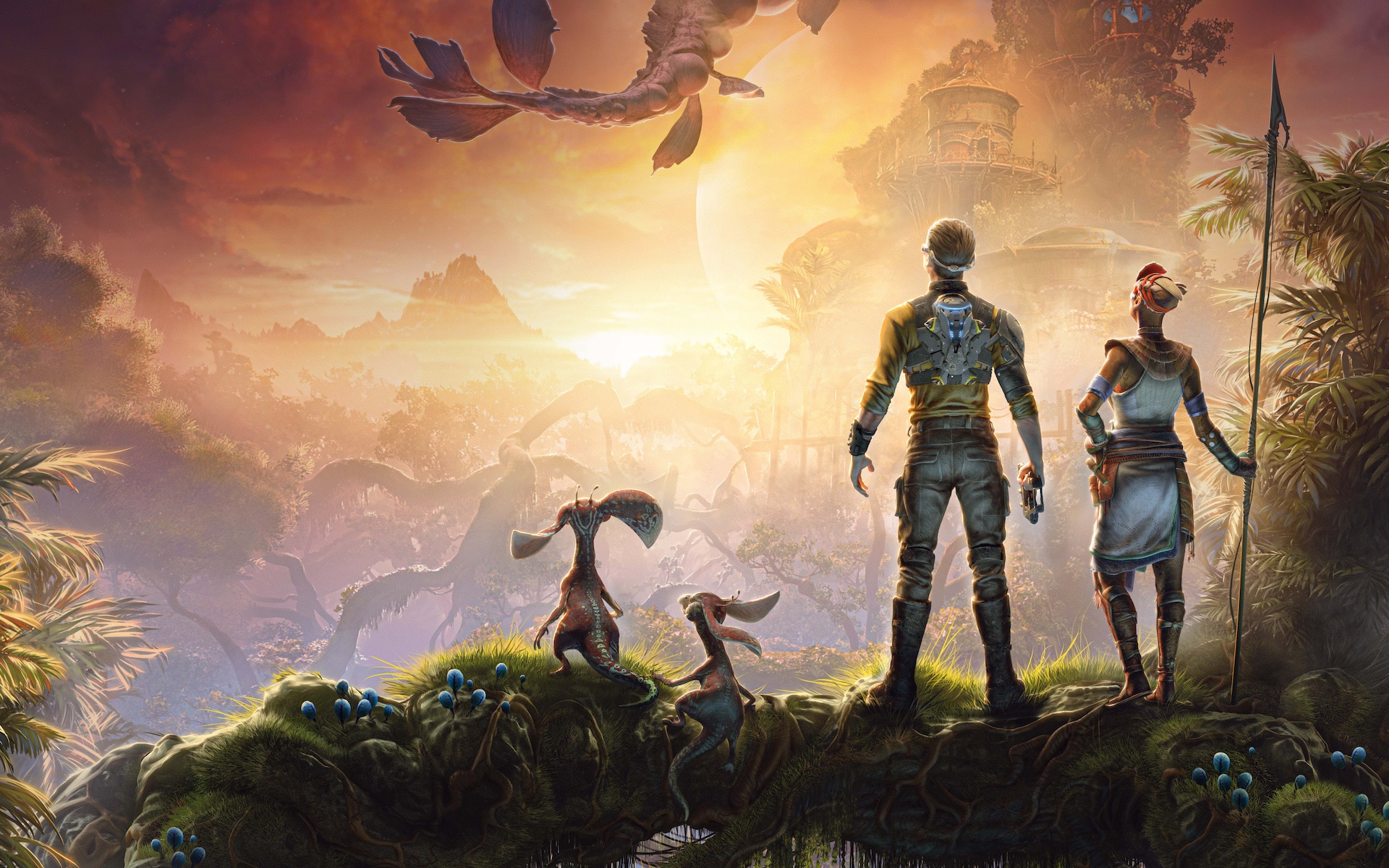Artwork of Outcast 2: A New Beginning, featuring Cutter Slade and a Talan overlooking a sunrise on Adelpha