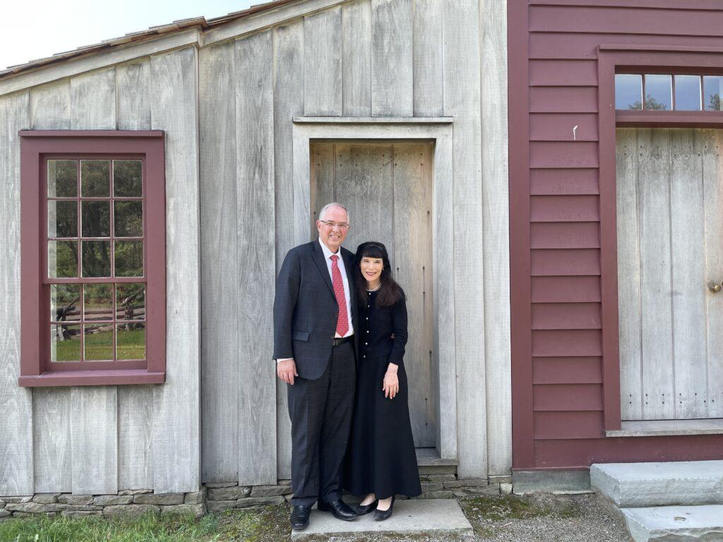Elder Neil L. Andersen and Sister Kathy Andersen at the Priesthood Restoration Site in Oakland Township, Pennsylvania.