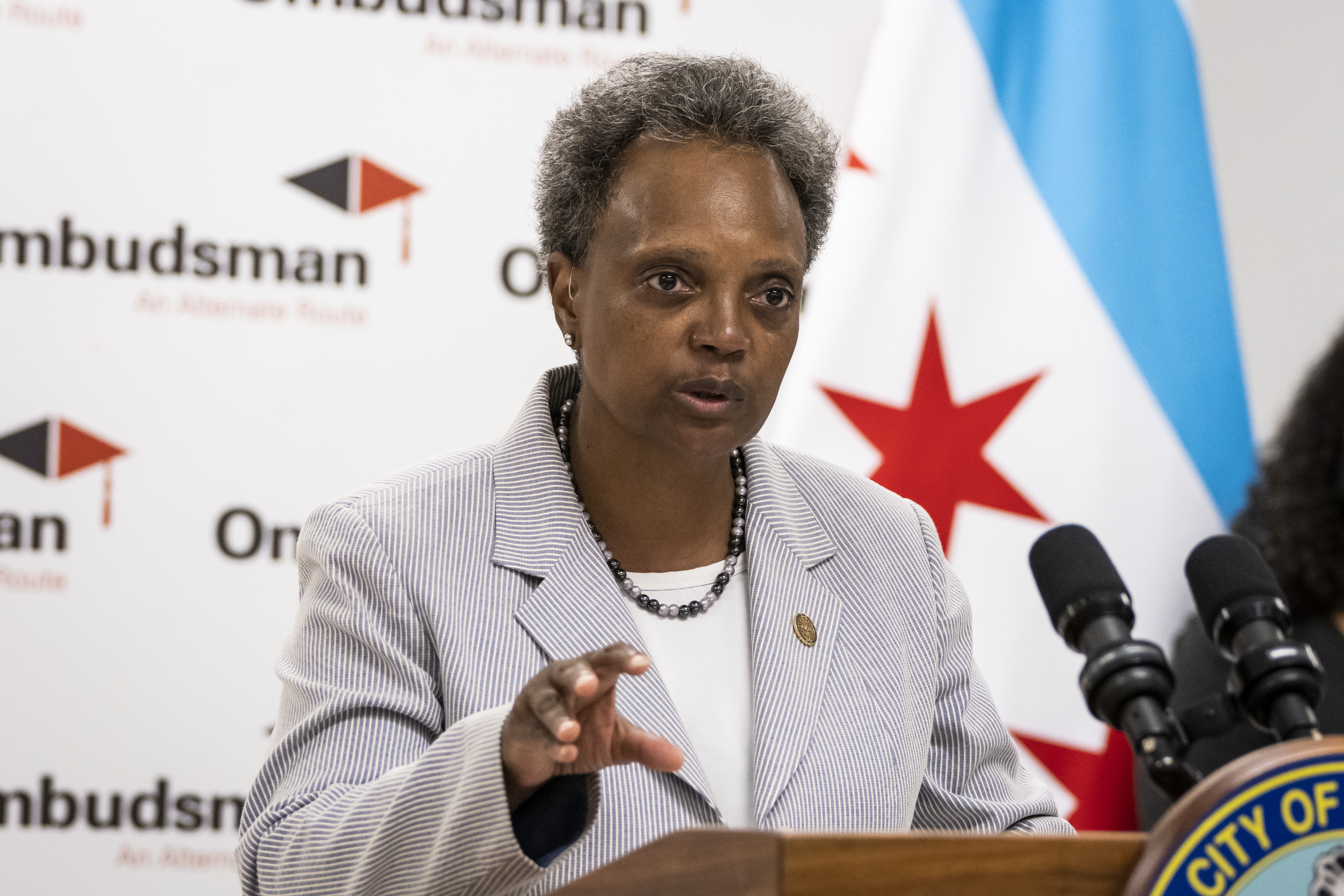Mayor Lori Lightfoot speaks during a news conference at Ombudsman Chicago South Alternative School, 6057 S. Western Ave. in West Englewood, on the first day of school for the Chicago Public Schools 2021 - 2022 school year, Monday morning, Aug. 30, 2021.