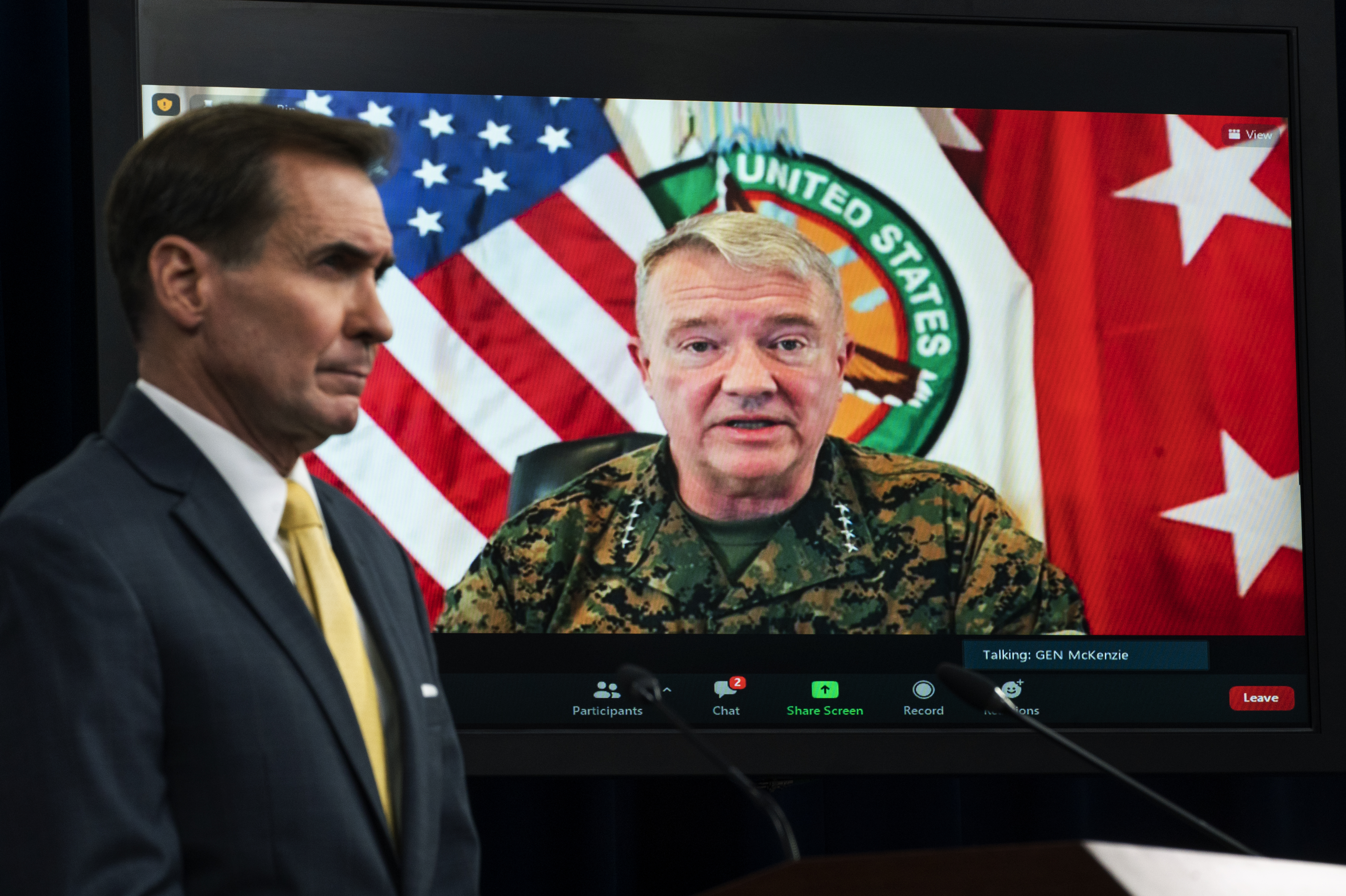 In this Aug. 30, 2021, file photo Gen. Frank McKenzie, Commander of U.S. Central Command, appears on screen as he speaks from MacDill Air Force Base, in Tampa, Fla., as he speaks about Afghanistan during a virtual briefing moderated by Pentagon spokesman John Kirby at the Pentagon in Washington.