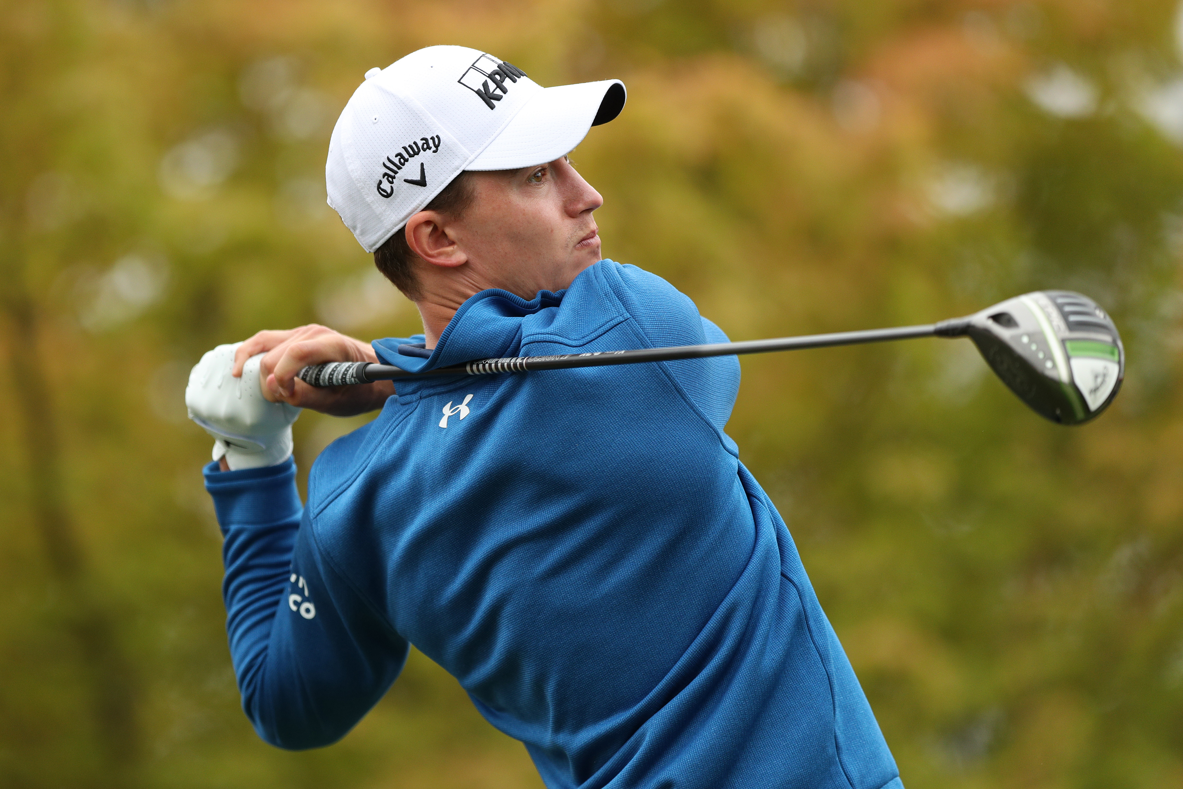 Maverick McNealy hits his tee shot on the first hole during round two of the Fortinet Championship at Silverado Resort and Spa on September 17, 2021 in Napa, California.