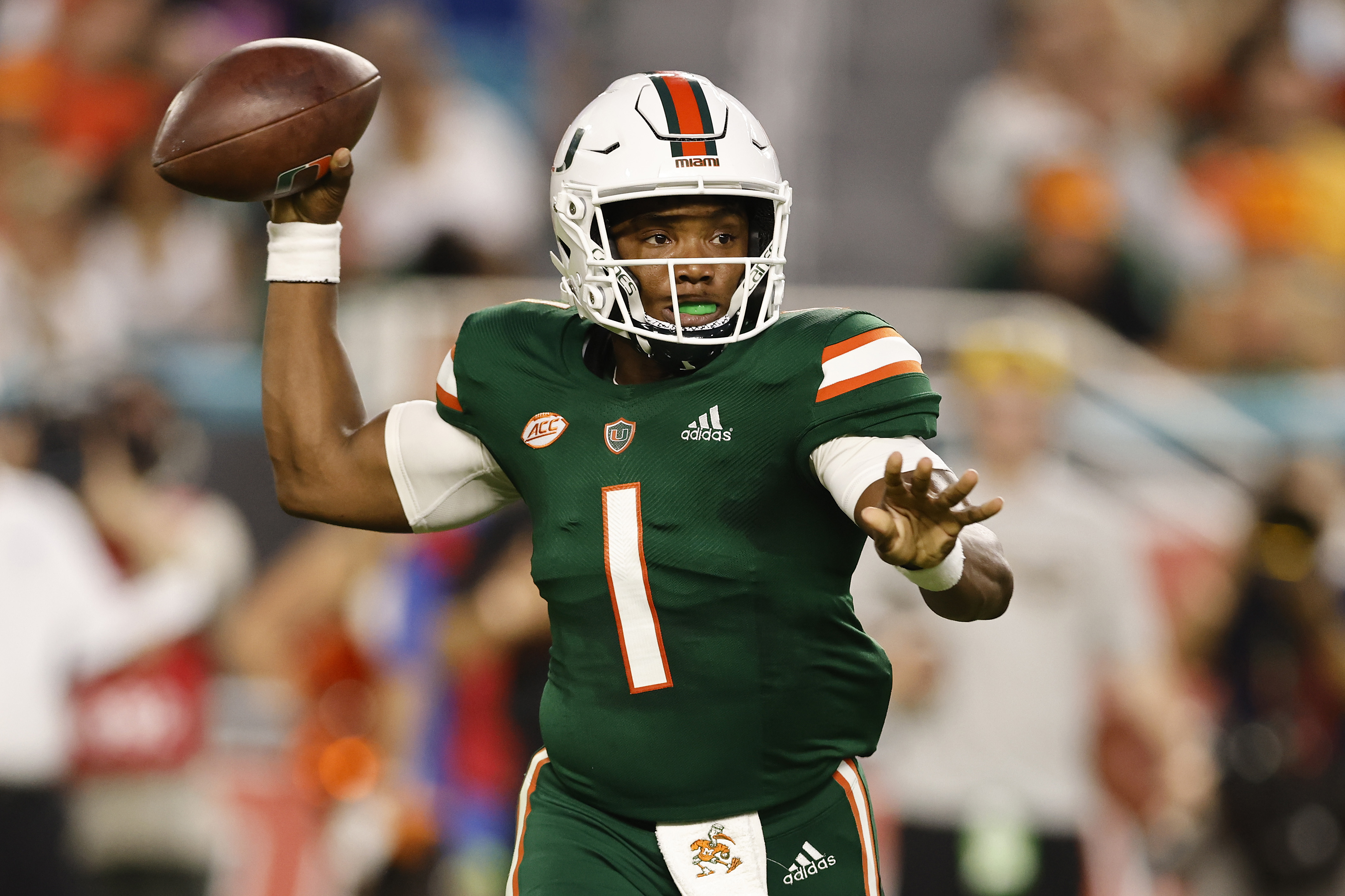 D'Eriq King of the Miami Hurricanes in action against the Appalachian State Mountaineers during the first half at Hard Rock Stadium on September 11, 2021 in Miami Gardens, Florida.