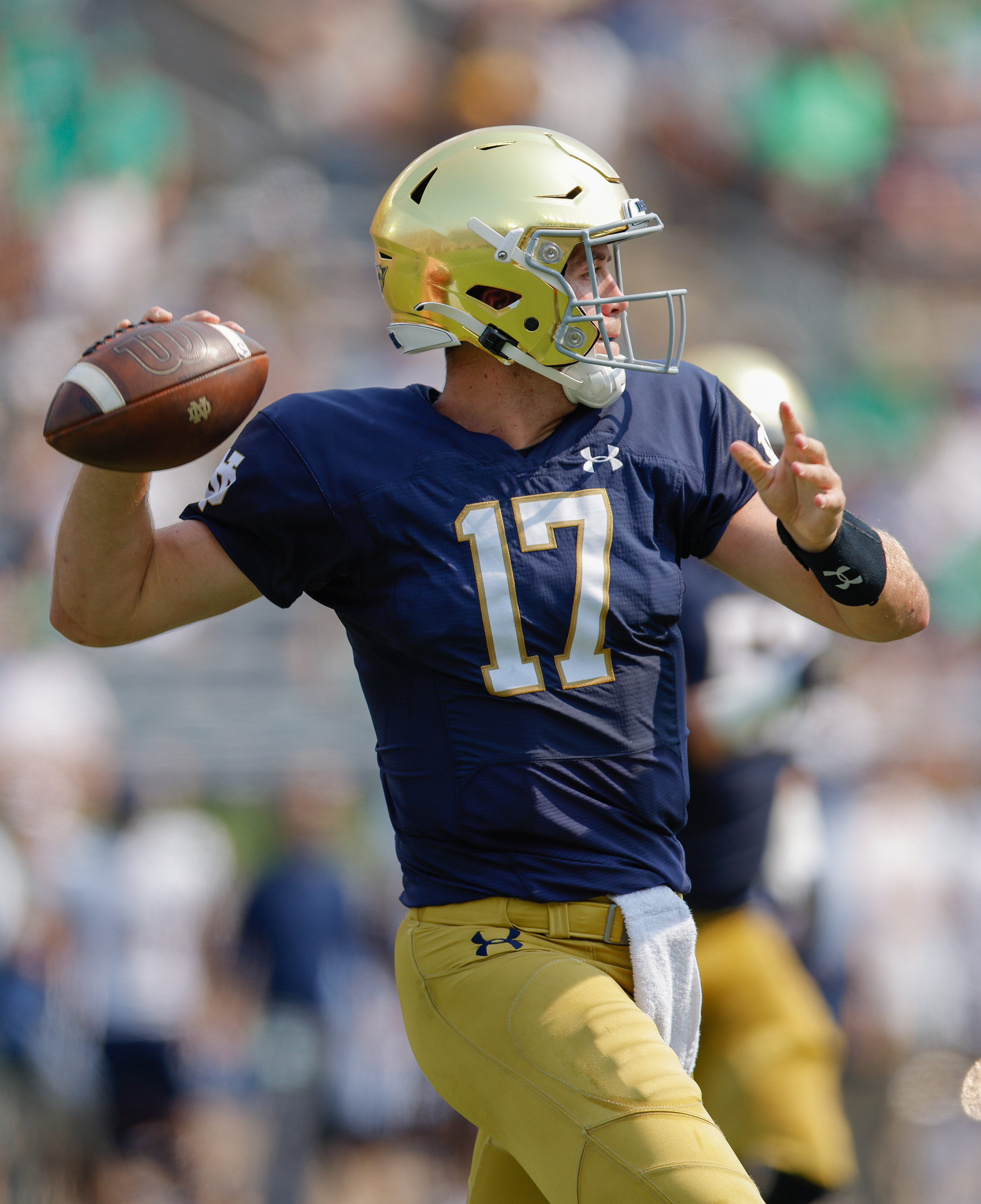 Jack Coan of the Notre Dame Fighting Irish is seen during the game against the Toledo Rockets at Notre Dame Stadium on September 11, 2021 in South Bend, Indiana.
