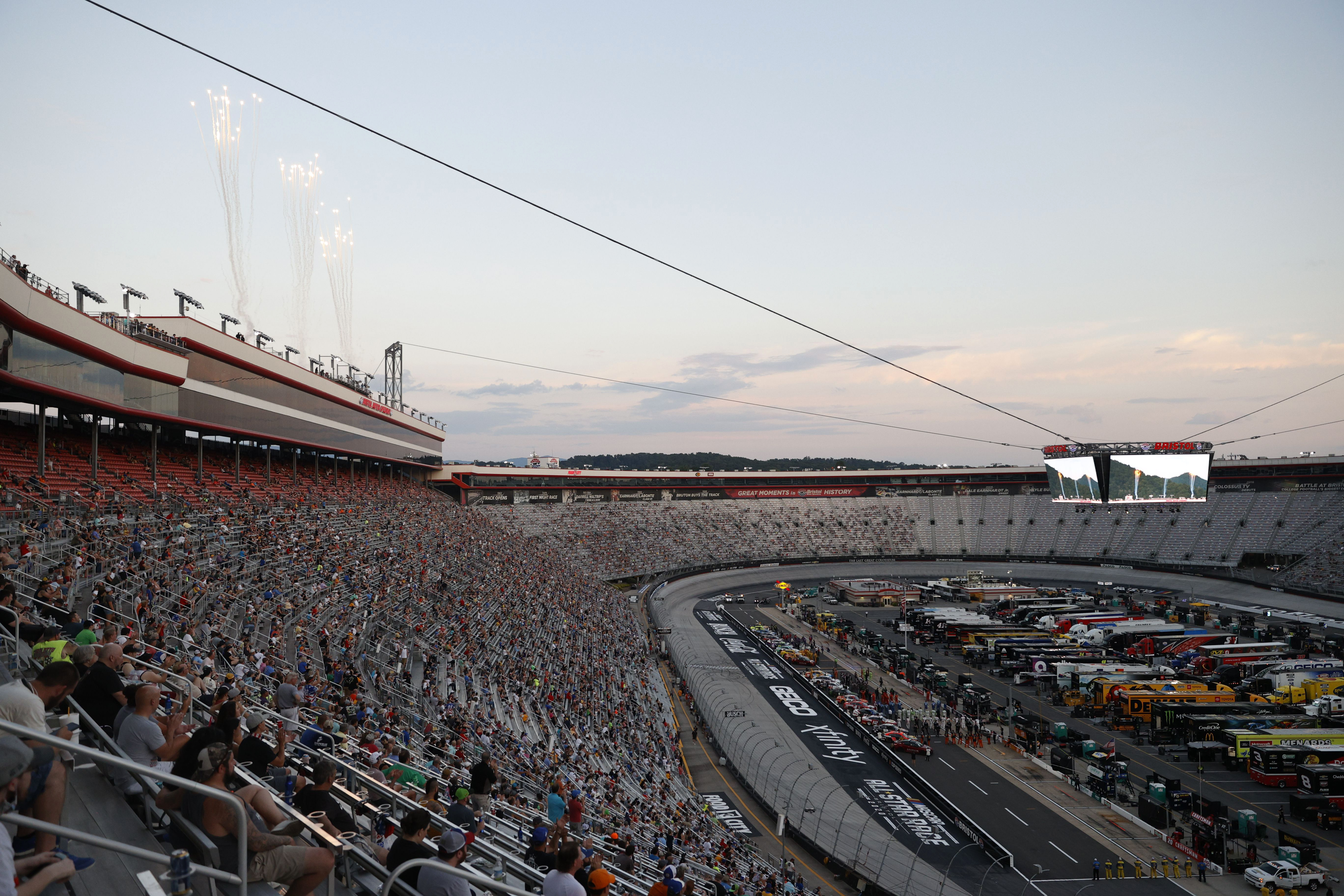 A general view of fans, drivers and crew during during pre-race ceremonies prior to the NASCAR Cup Series All-Star Race at Bristol Motor Speedway on July 15, 2020 in Bristol, Tennessee.