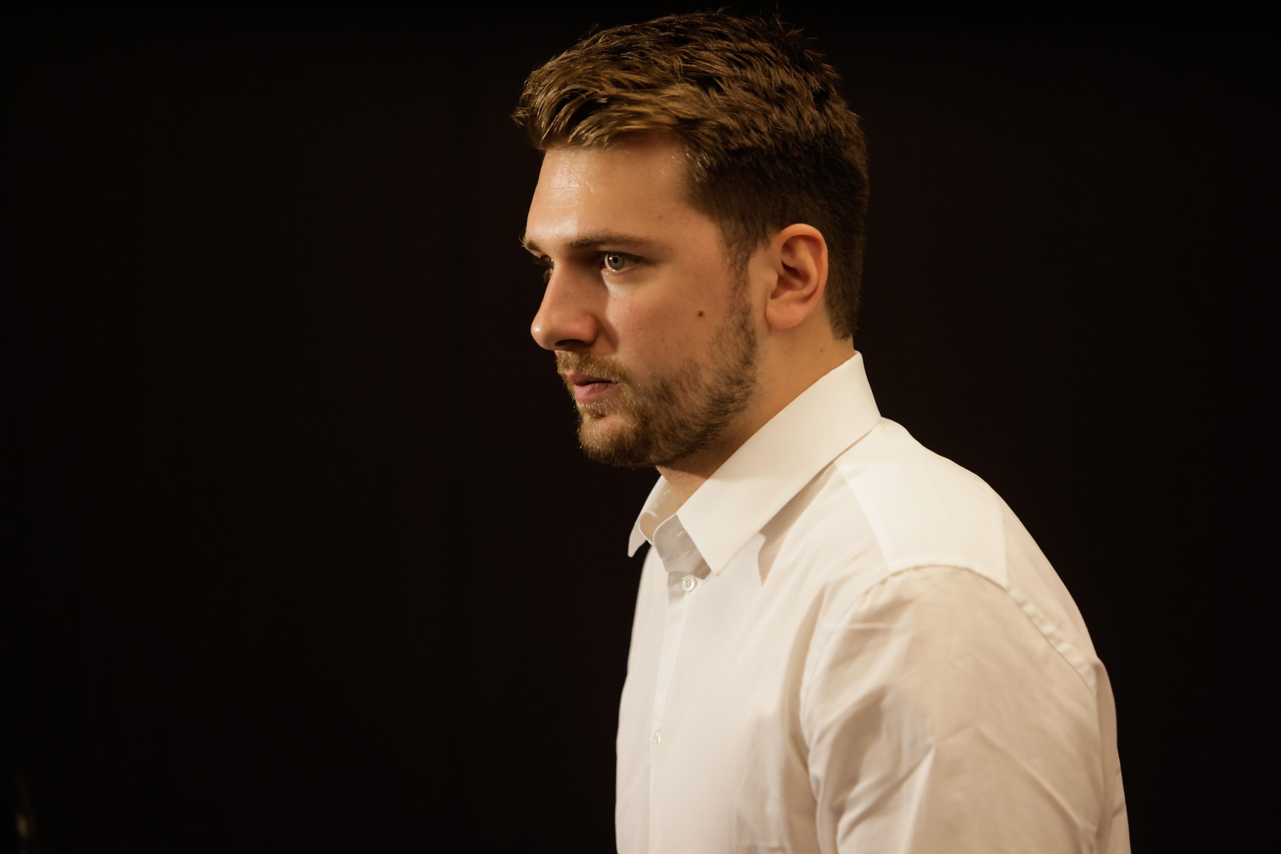 Luka Doncic seen at a press conference. Slovenian NBA star,...