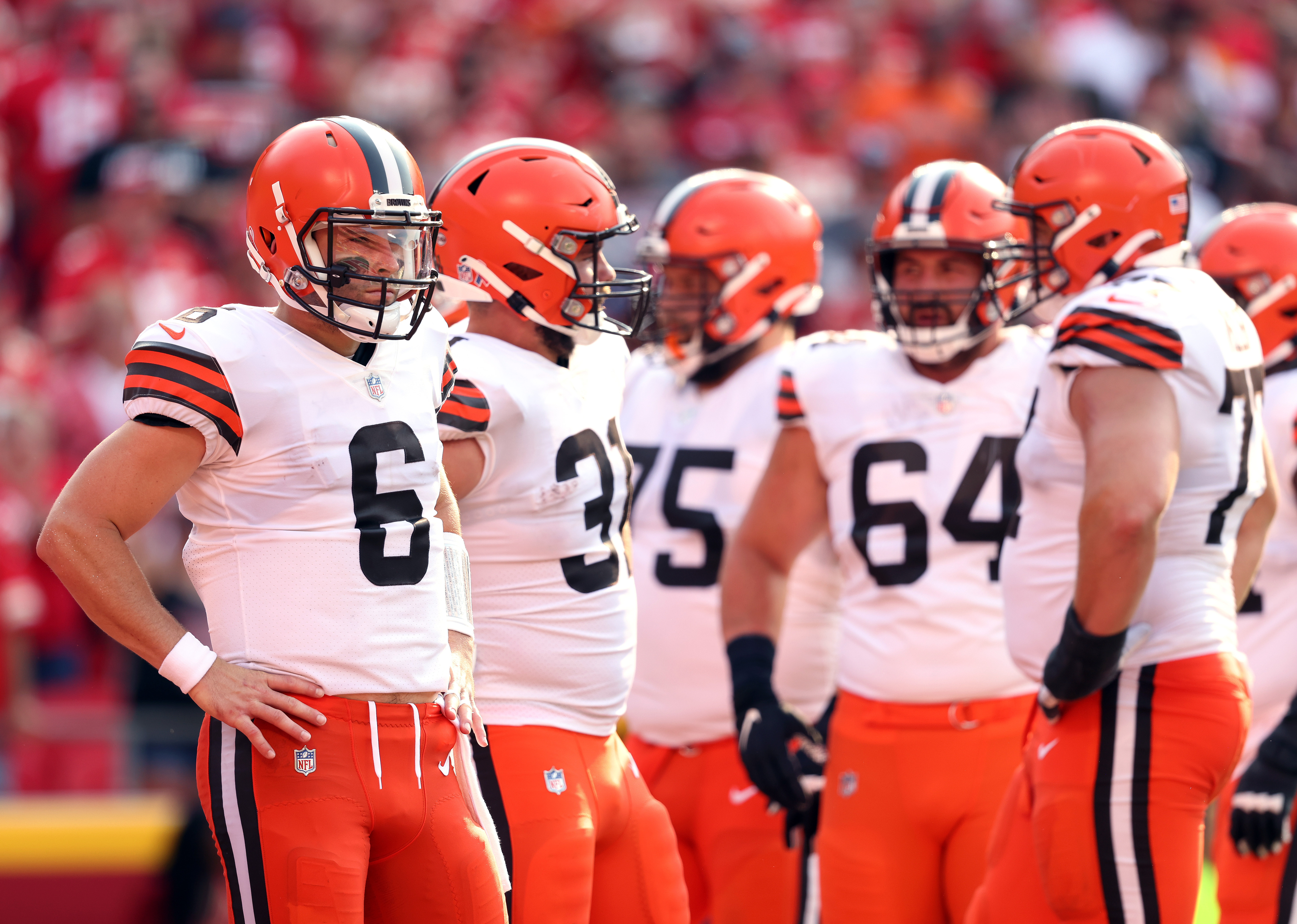 Quarterback Baker Mayfield #6 of the Cleveland Browns waits during a timeout in the game against the Kansas City Chiefs at Arrowhead Stadium on September 12, 2021 in Kansas City, Missouri.