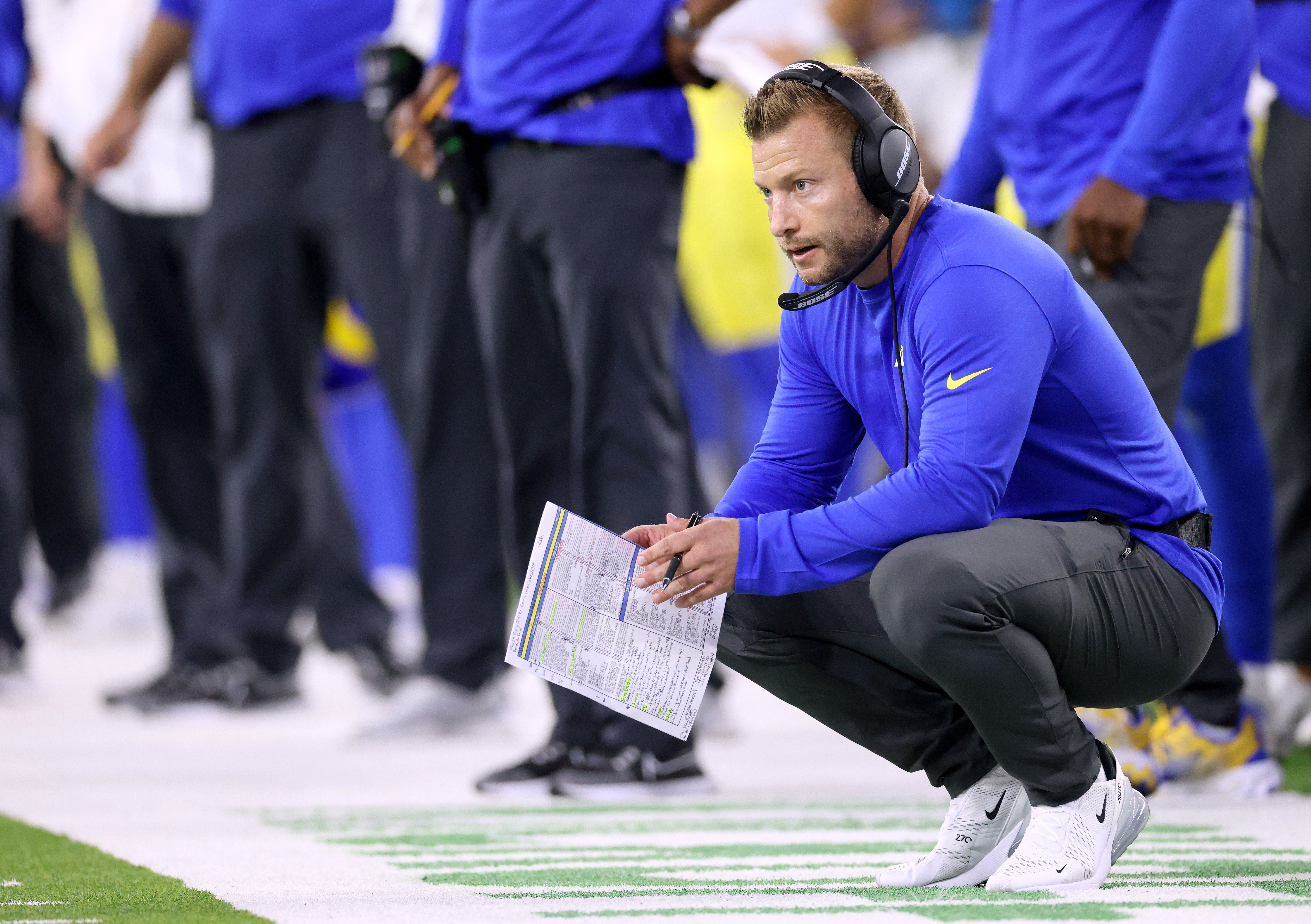Head coach Sean McVay of the Los Angeles Rams on the sidelines during a 34-14 win over the Chicago Bears at SoFi Stadium on September 12, 2021 in Inglewood, California.