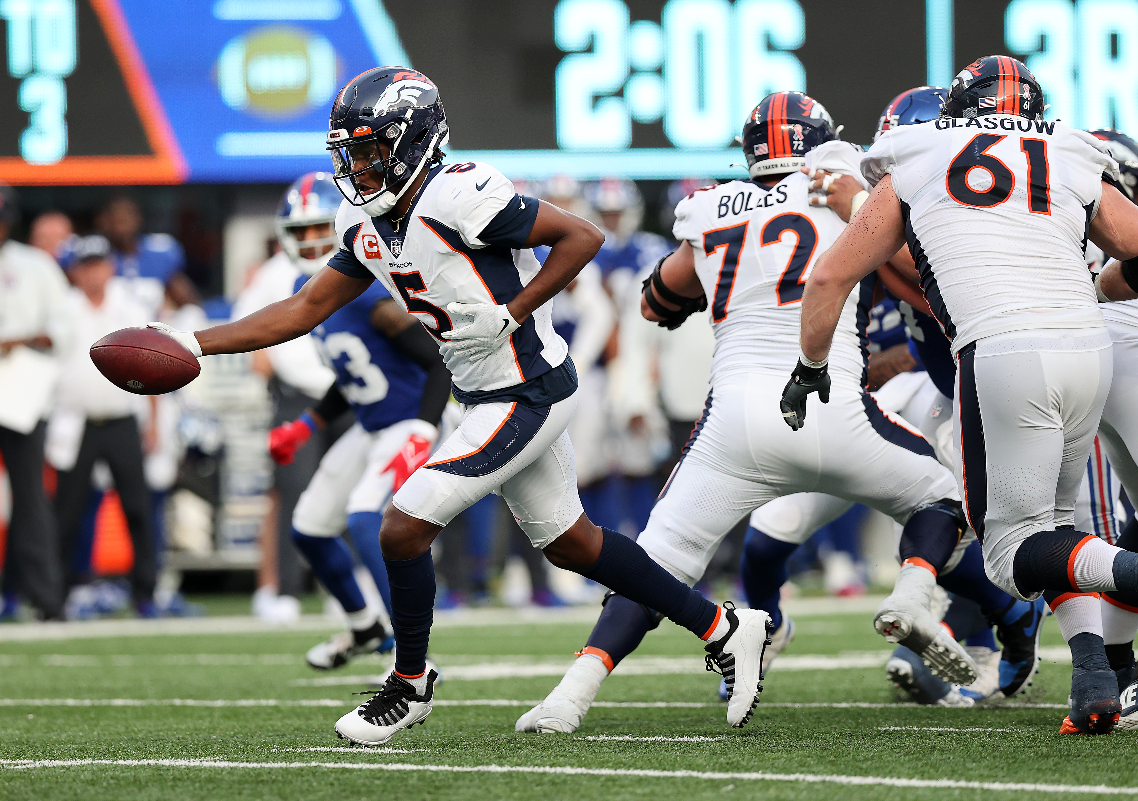 Teddy Bridgewater #5 of the Denver Broncos hands the ball off against the New York Giants at MetLife Stadium on September 12, 2021 in East Rutherford, New Jersey.