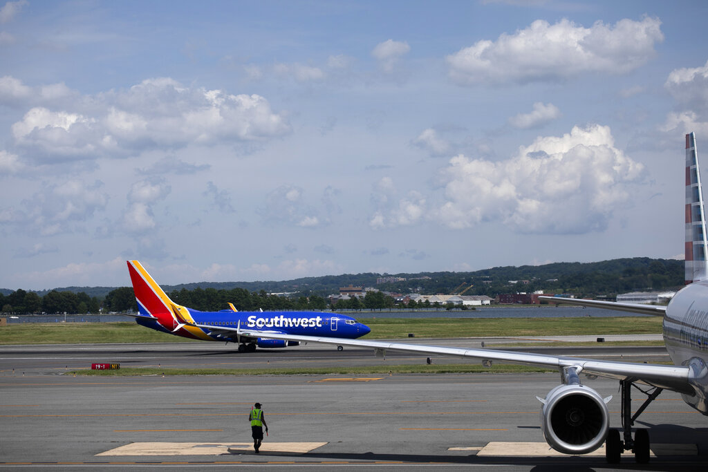 A Southwest Airlines aircraft at Ronald Reagan Washington National Airport.