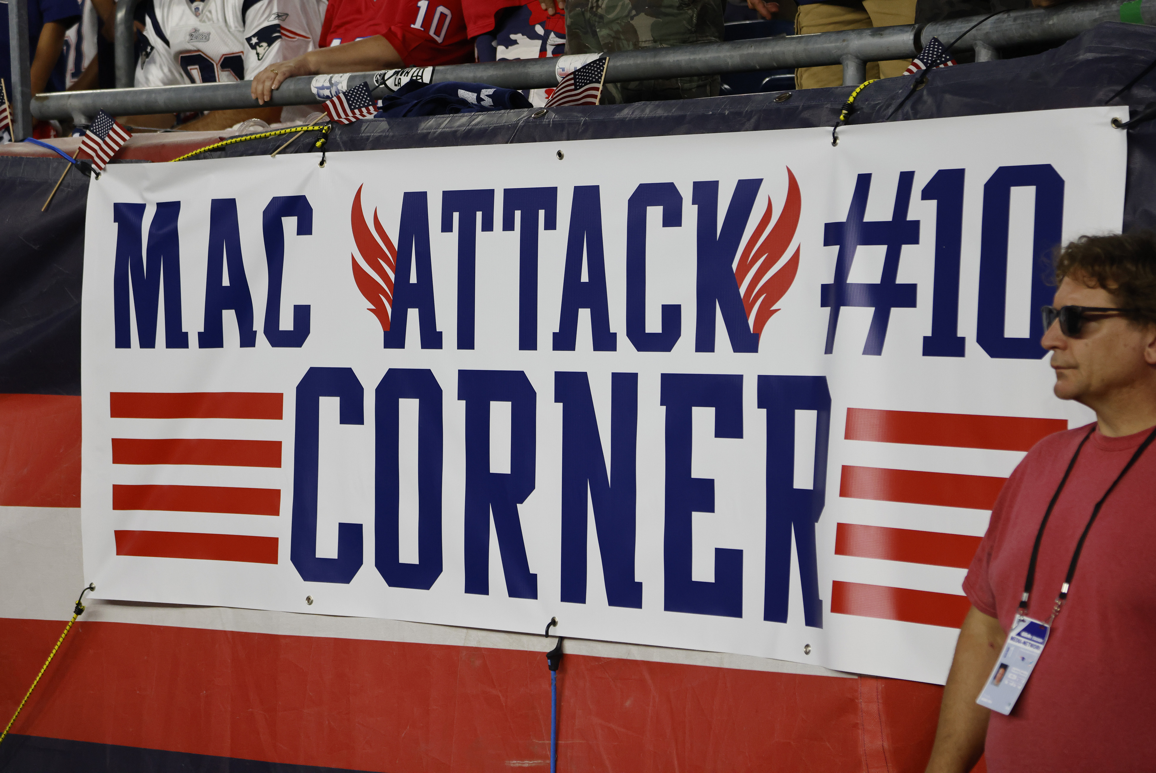 The Mac corner during a game between the New England Patriots and the Miami Dolphins on September 12, 2021, at Gillette Stadium in Foxborough, Massachusetts.