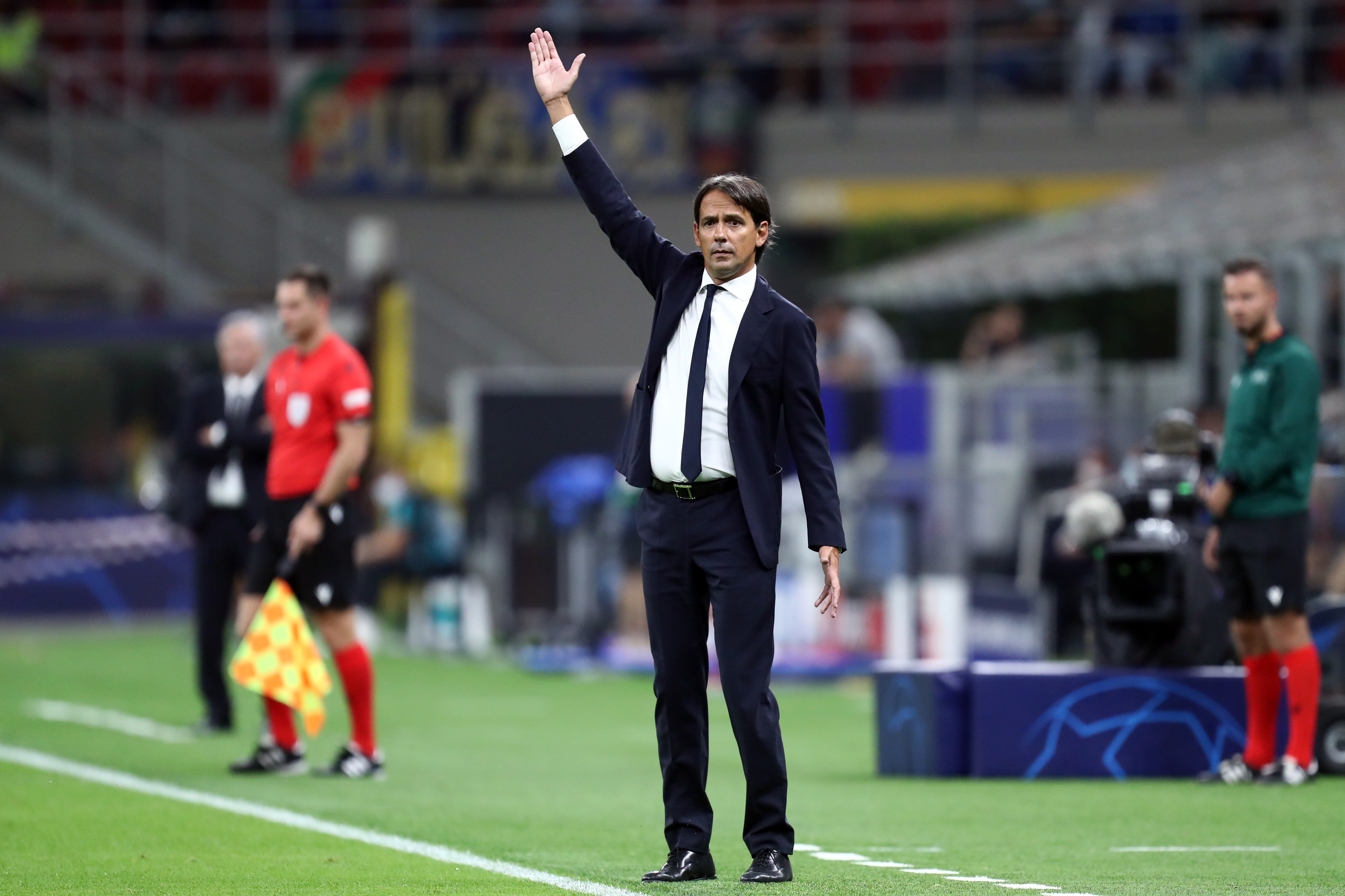 Simone Inzaghi, head coach of Fc Internazionale, gestures...