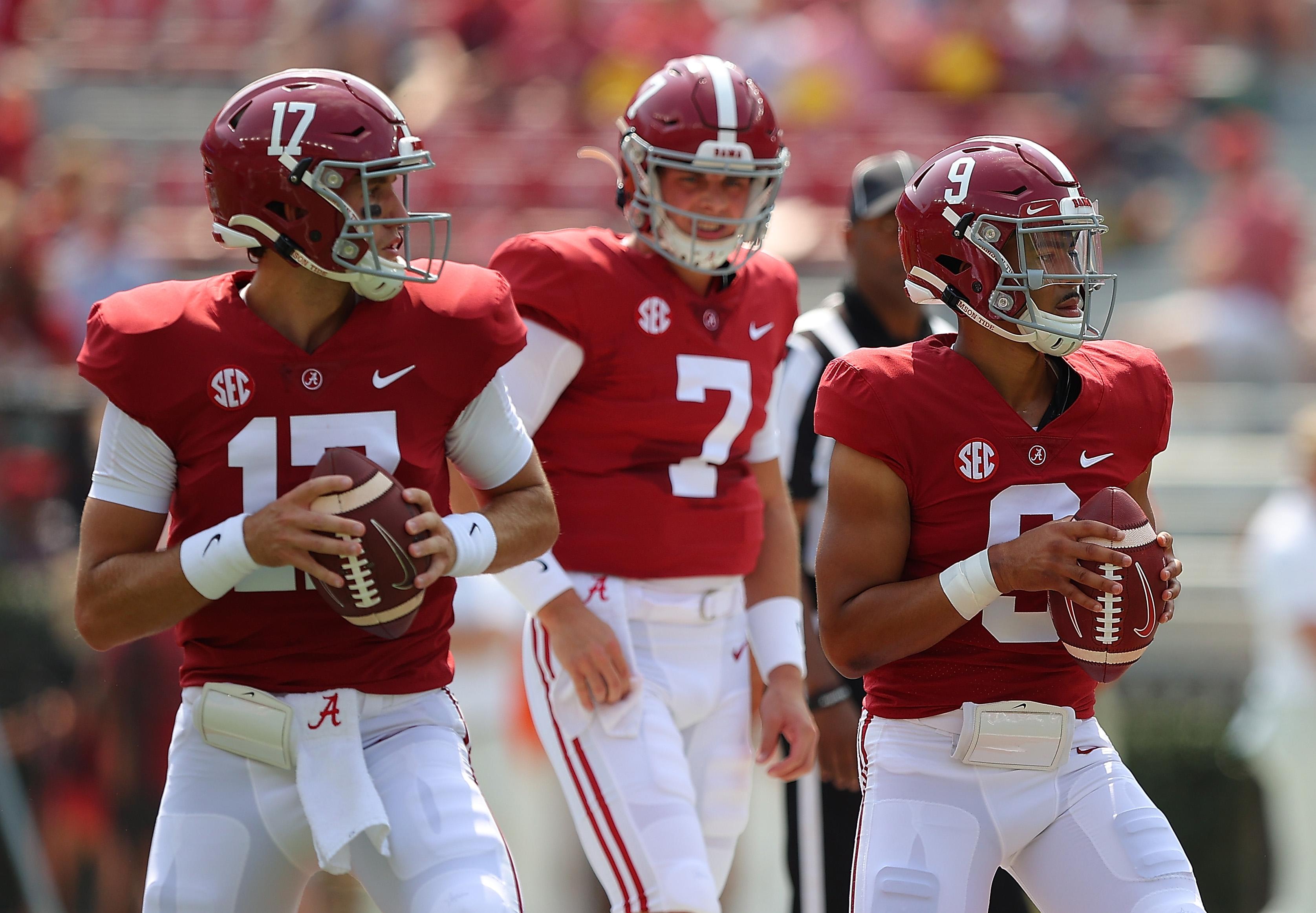 Bryce Young and Paul Tyson of the Alabama Crimson Tide warms up prior to facing the Mercer Bears at Bryant-Denny Stadium on September 11, 2021 in Tuscaloosa, Alabama.