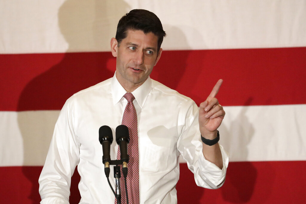 U.S. House Speaker Paul Ryan speaks at a campaign event.