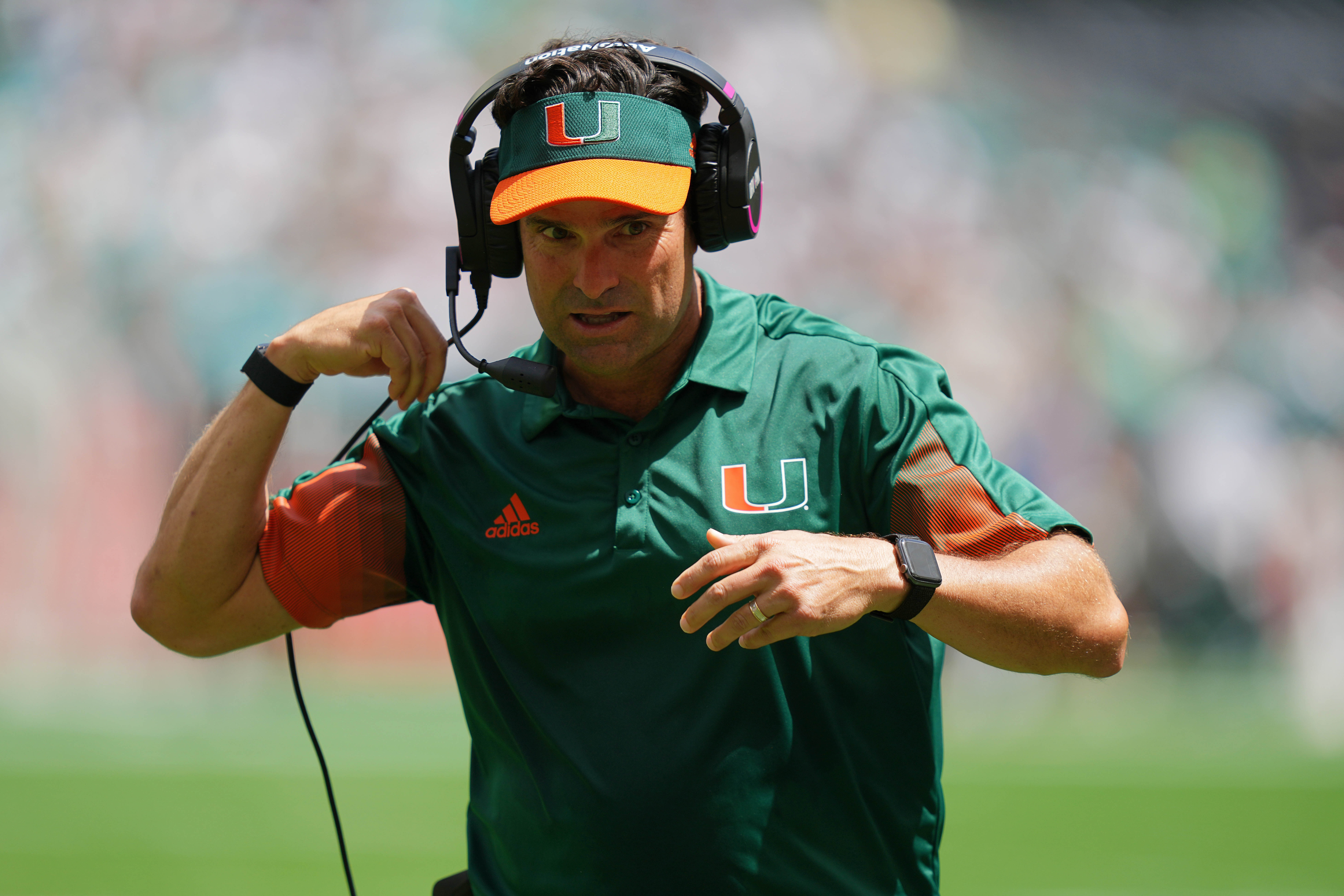 Miami Hurricanes head coach Manny Diaz walks on the sideline during the first half against the Michigan State Spartans at Hard Rock Stadium.
