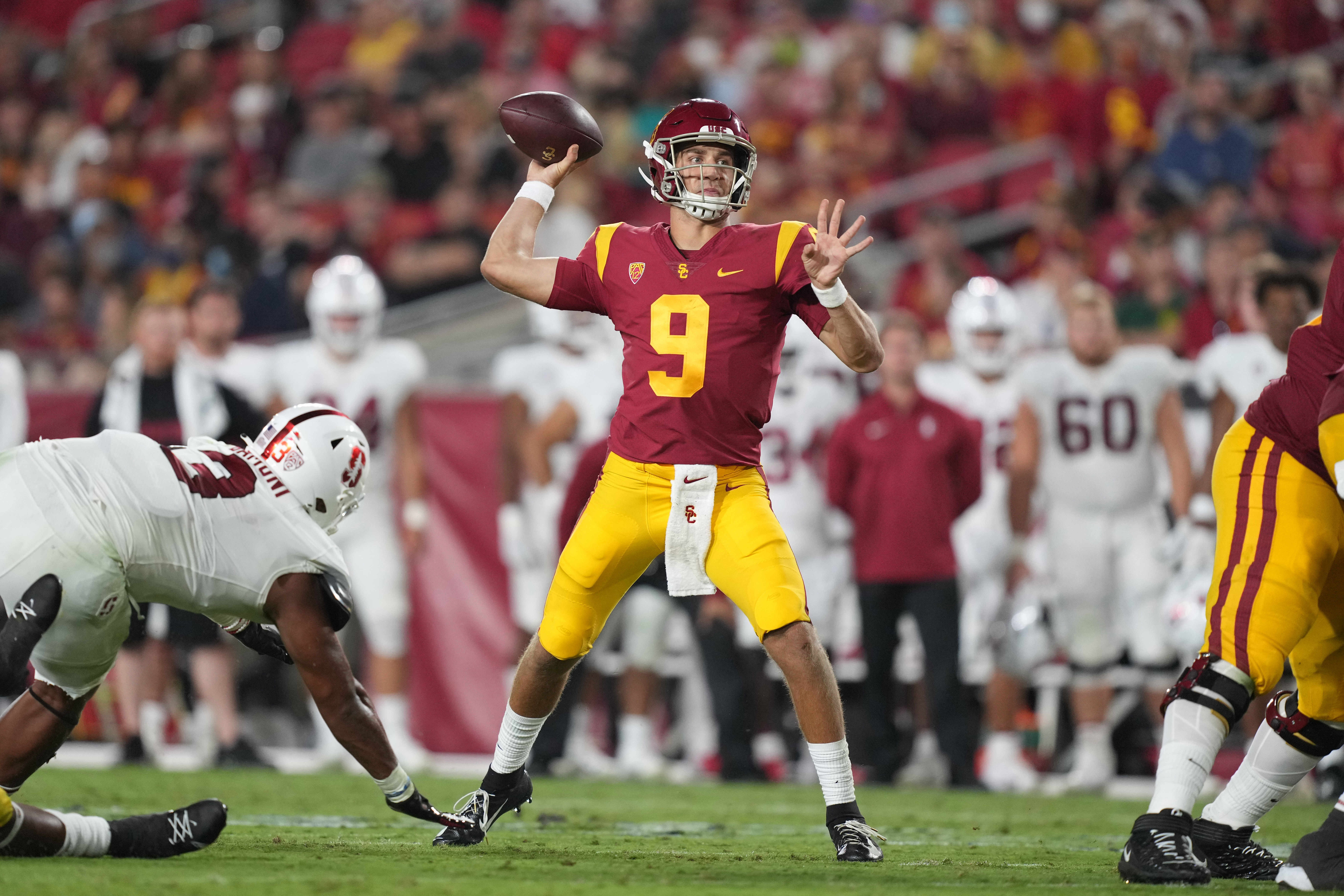 Southern California Trojans quarterback Kedon Slovis throws the ball against the Stanford Cardinal in the third quarter at United Airlines Field at Los Angeles Memorial Coliseum