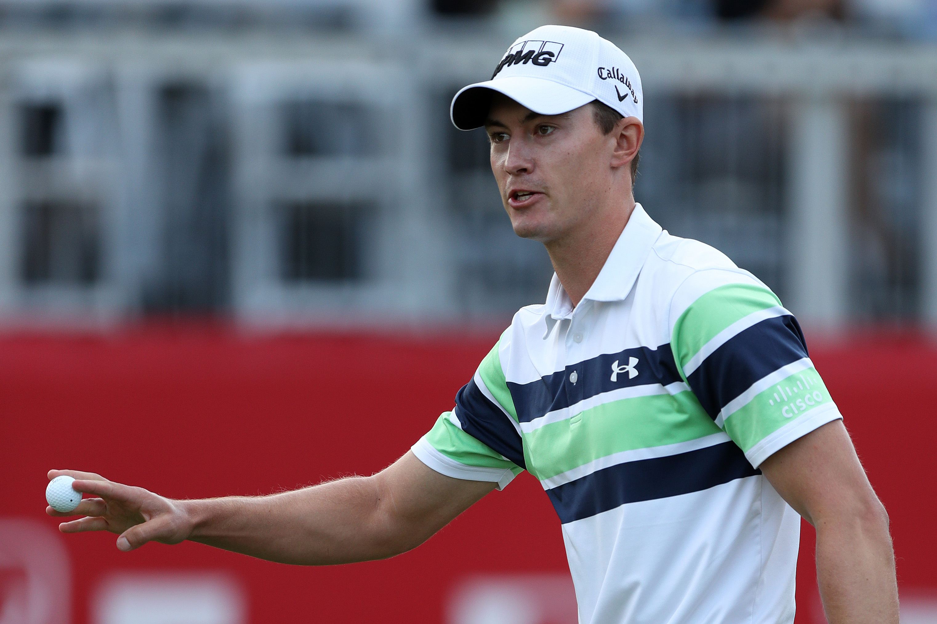 Maverick McNealy reacts following round three of the Fortinet Championship at Silverado Resort and Spa on September 18, 2021 in Napa, California.
