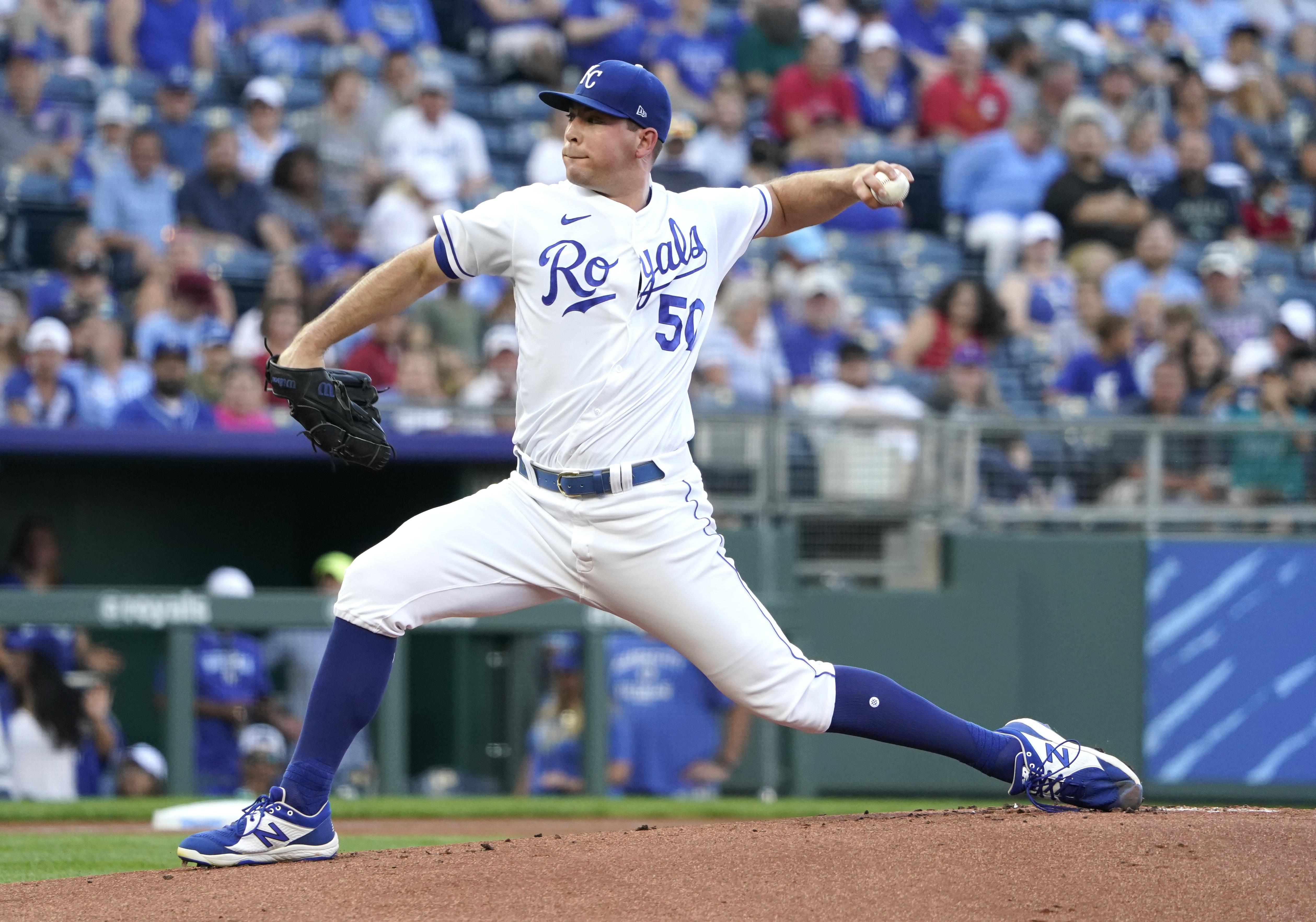 Kris Bubic throws a pitch