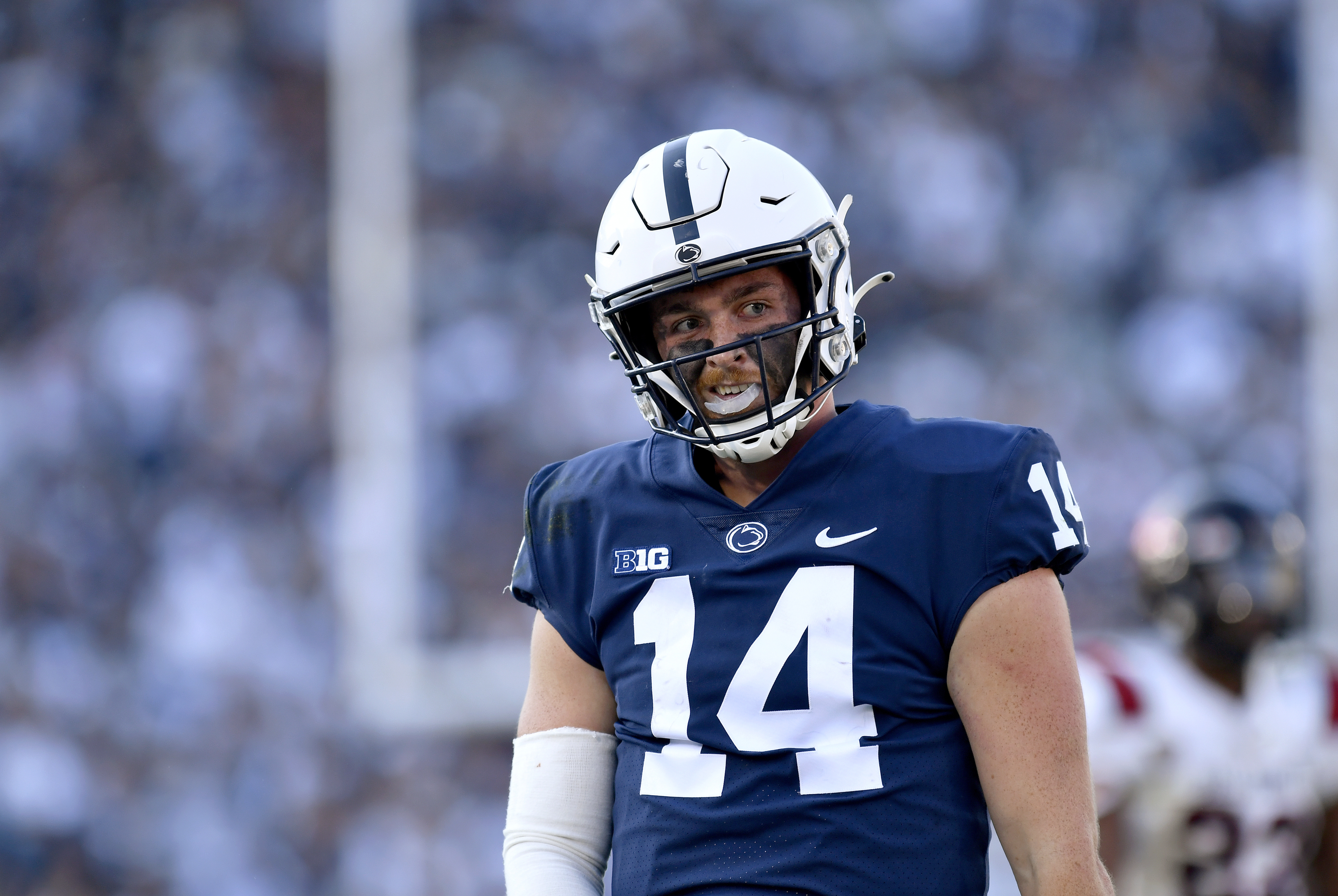 Penn State quarterback Sean Clifford celebrates after a long run for a first down during the Ball State Cardinals versus Penn State Nittany Lions game on September 11, 2021 at Beaver Stadium in University Park, PA.