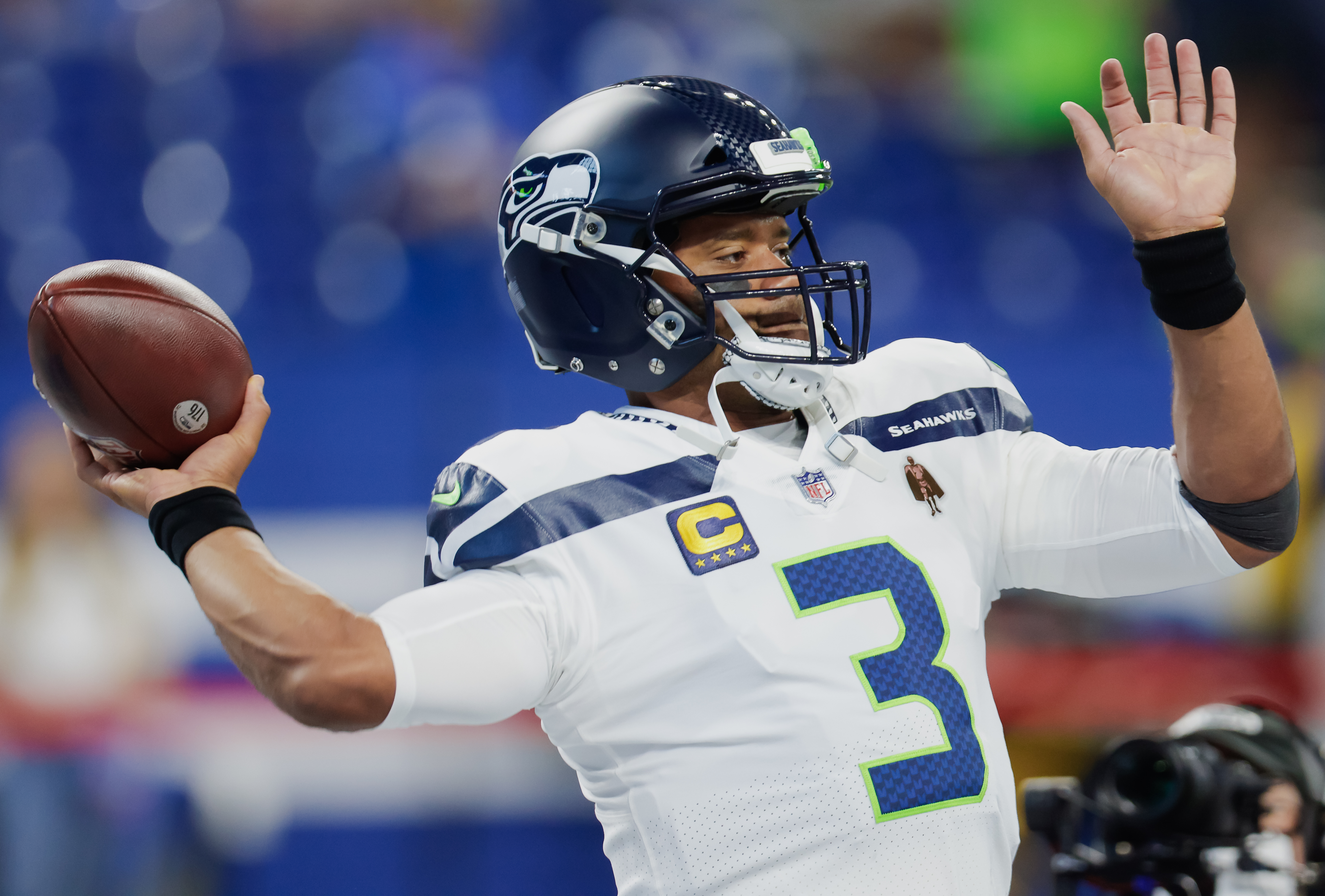 Russell Wilson #3 of the Seattle Seahawks is seen before the game against the Indianapolis Colts at Lucas Oil Stadium on September 12, 2021 in Indianapolis, Indiana.