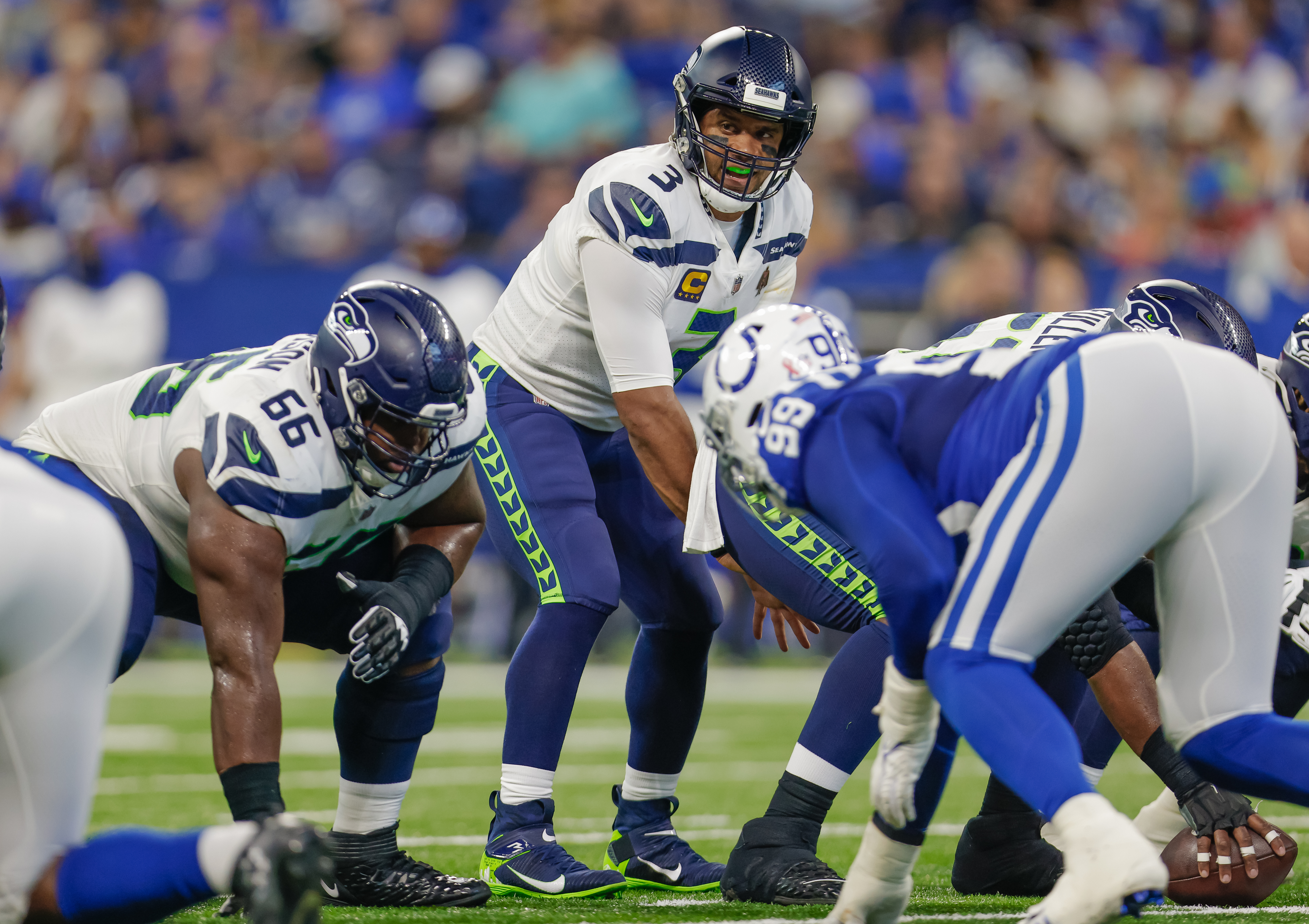 Russell Wilson #3 of the Seattle Seahawks is seen during the game against the Indianapolis Colts at Lucas Oil Stadium on September 12, 2021 in Indianapolis, Indiana.