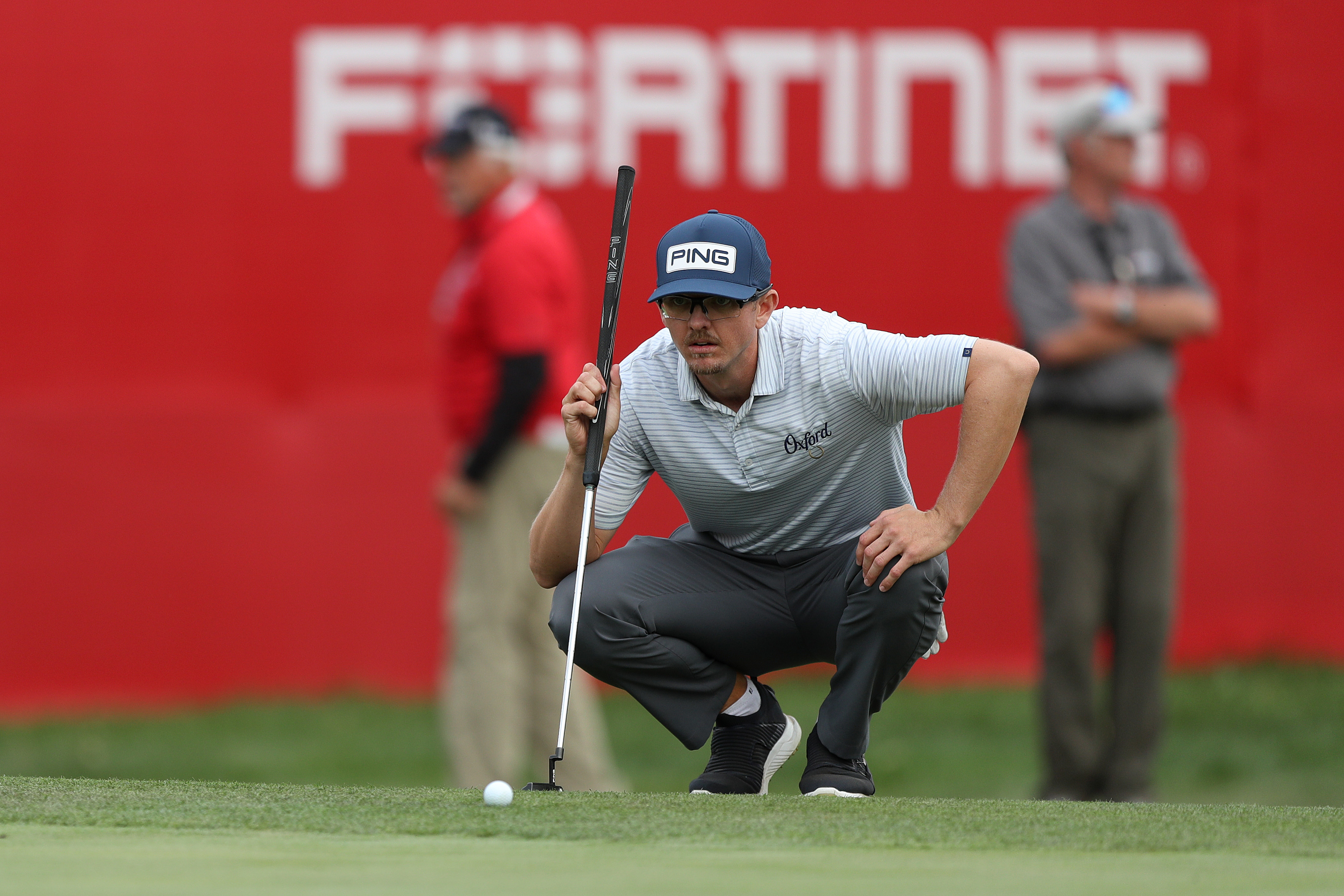 Jim Knous lines up his putt on the 18th hole during round three of the Fortinet Championship at Silverado Resort and Spa on September 18, 2021 in Napa, California.
