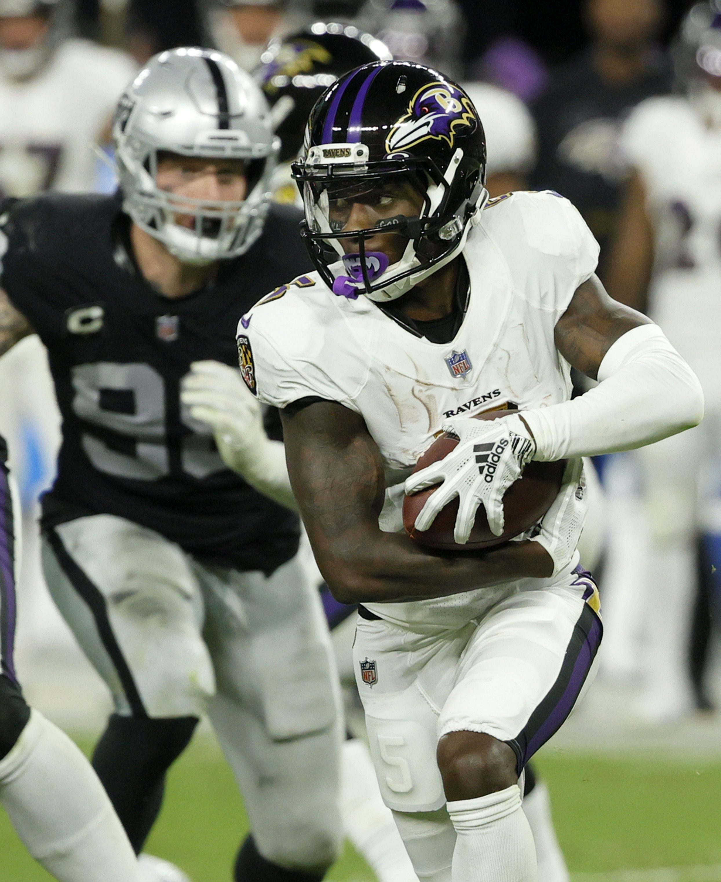 Wide receiver Marquise Brown #5 of the Baltimore Ravens runs against the Las Vegas Raiders during their game at Allegiant Stadium on September 13, 2021 in Las Vegas, Nevada.