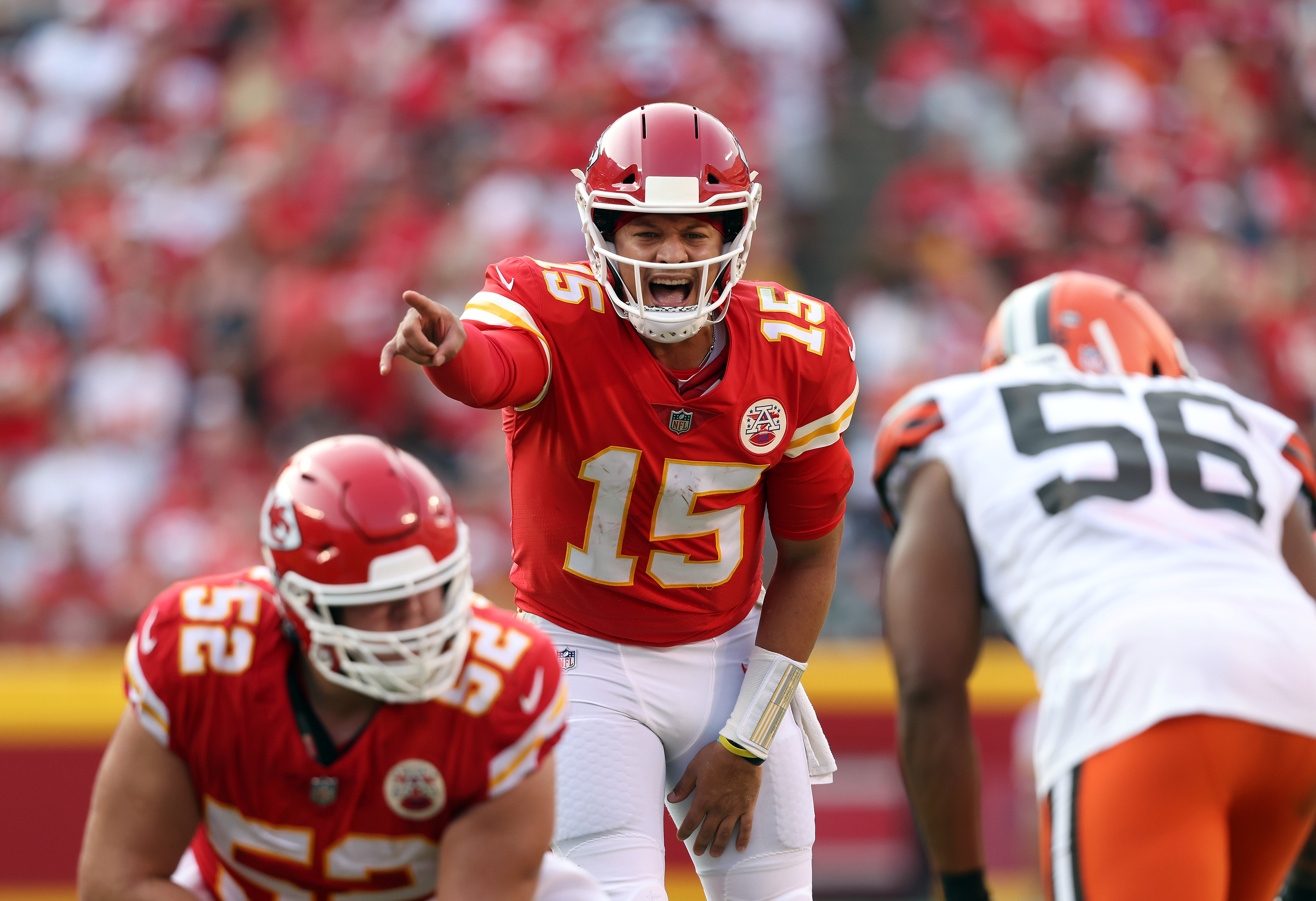 Quarterback Patrick Mahomes #15 of the Kansas City Chiefs in action during the game against the Cleveland Browns at Arrowhead Stadium on September 12, 2021 in Kansas City, Missouri.