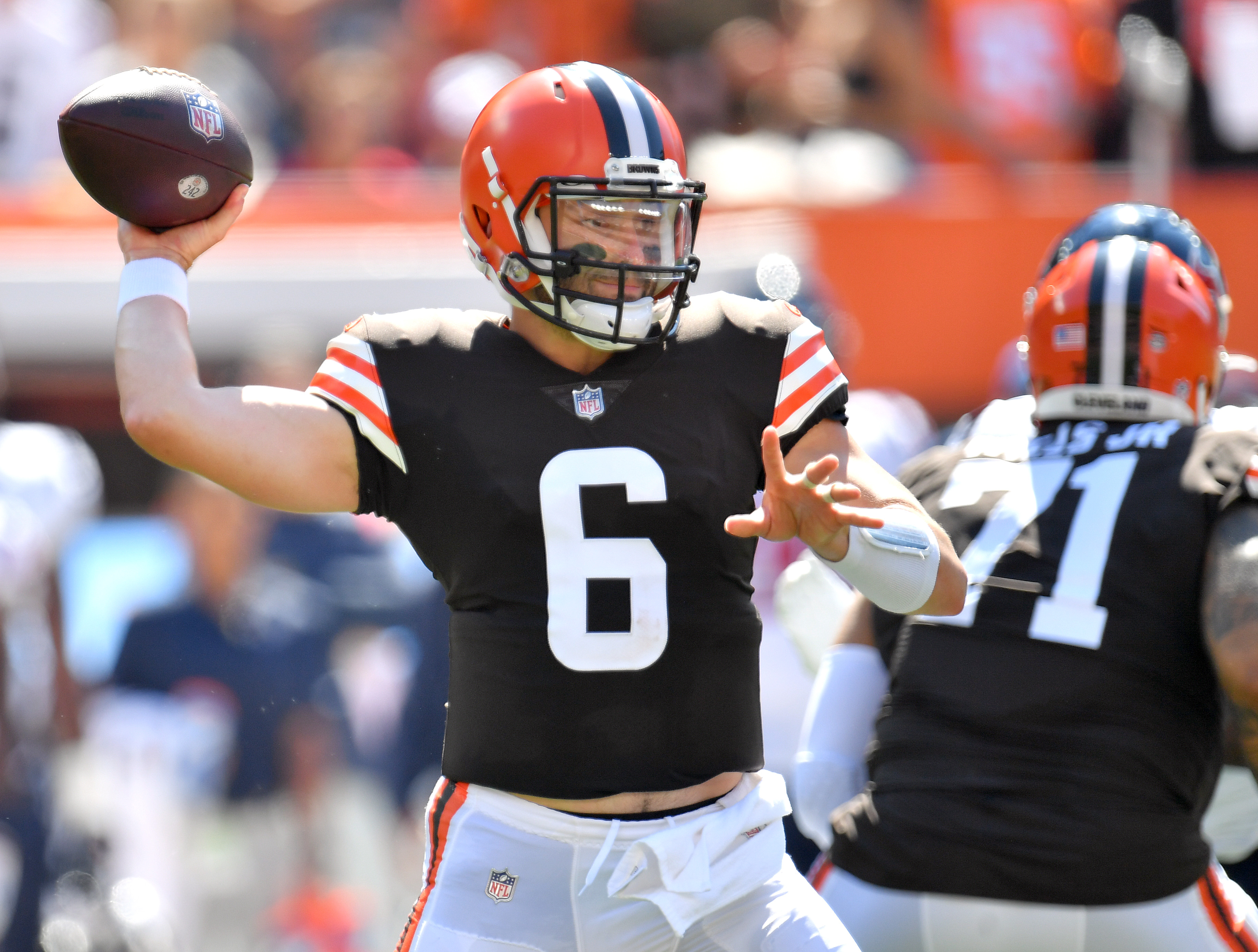 Quarterback Baker Mayfield #6 of the Cleveland Browns throws the ball during the first quarter in the game against the Houston Texans at FirstEnergy Stadium on September 19, 2021 in Cleveland, Ohio.
