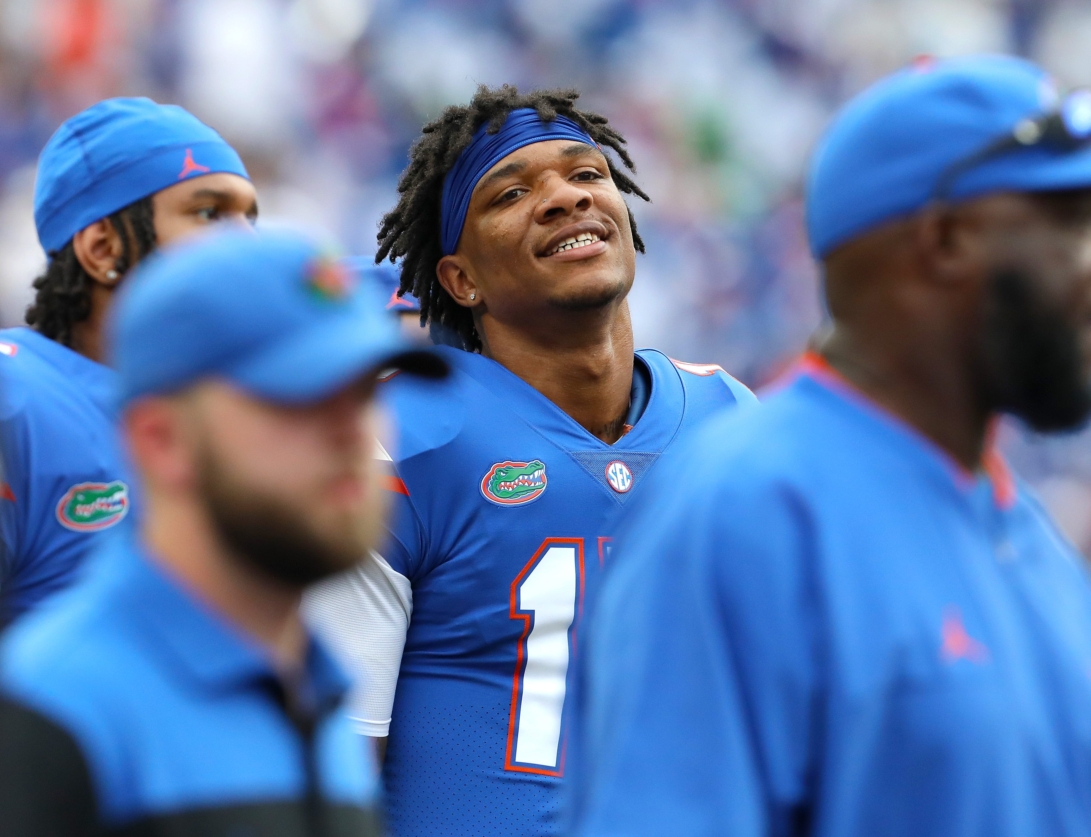 Florida Gators quarterback Anthony Richardson walks off the field at halftime during the football game between the Florida Gators and The Alabama Crimson Tide, at Ben Hill Griffin Stadium in Gainesville, Fla. Sept. 18, 2021.