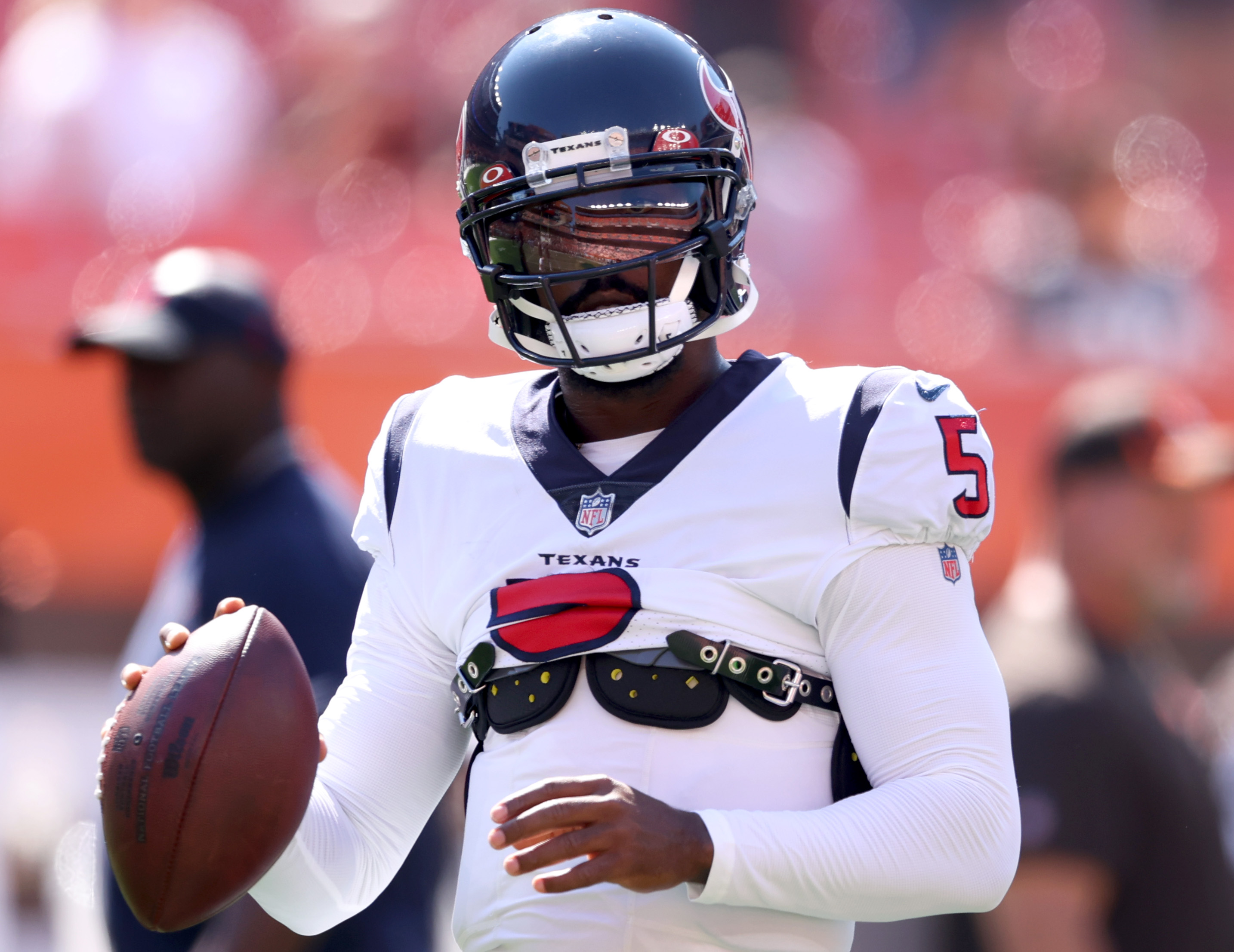 Quarterback Tyrod Taylor #5 of the Houston Texans before the game against the Cleveland Browns at FirstEnergy Stadium on September 19, 2021 in Cleveland, Ohio.