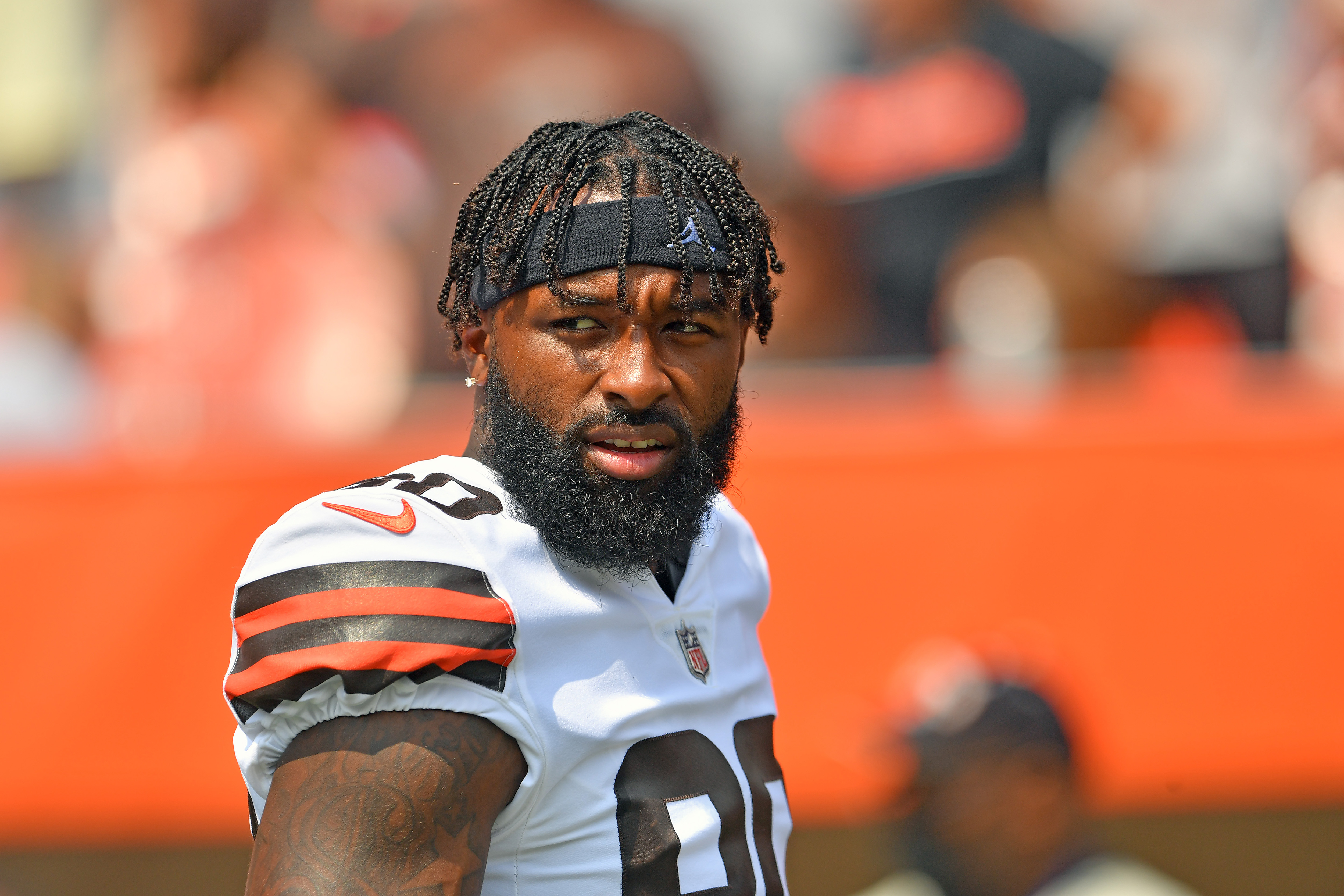 Wide receiver Jarvis Landry #80 of the Cleveland Browns walks onto the field during player introductions prior to the game against the New York Giants at FirstEnergy Stadium on August 22, 2021 in Cleveland, Ohio.