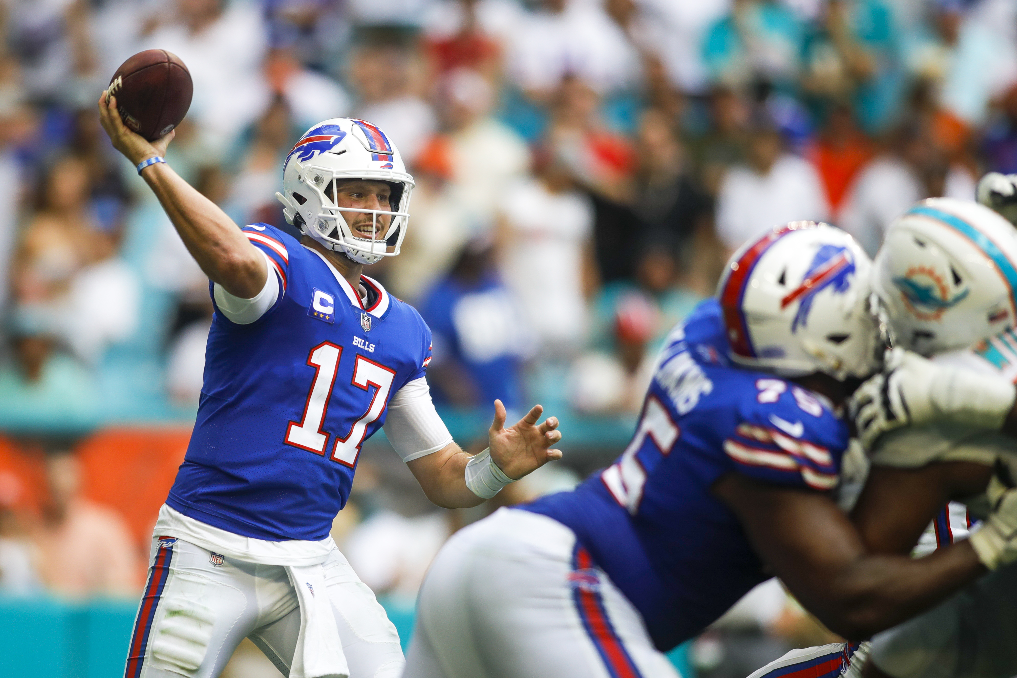 Buffalo Bills quarterback Josh Allen (17) throws a pass during the second quarter of the game against the Miami Dolphins at Hard Rock Stadium.