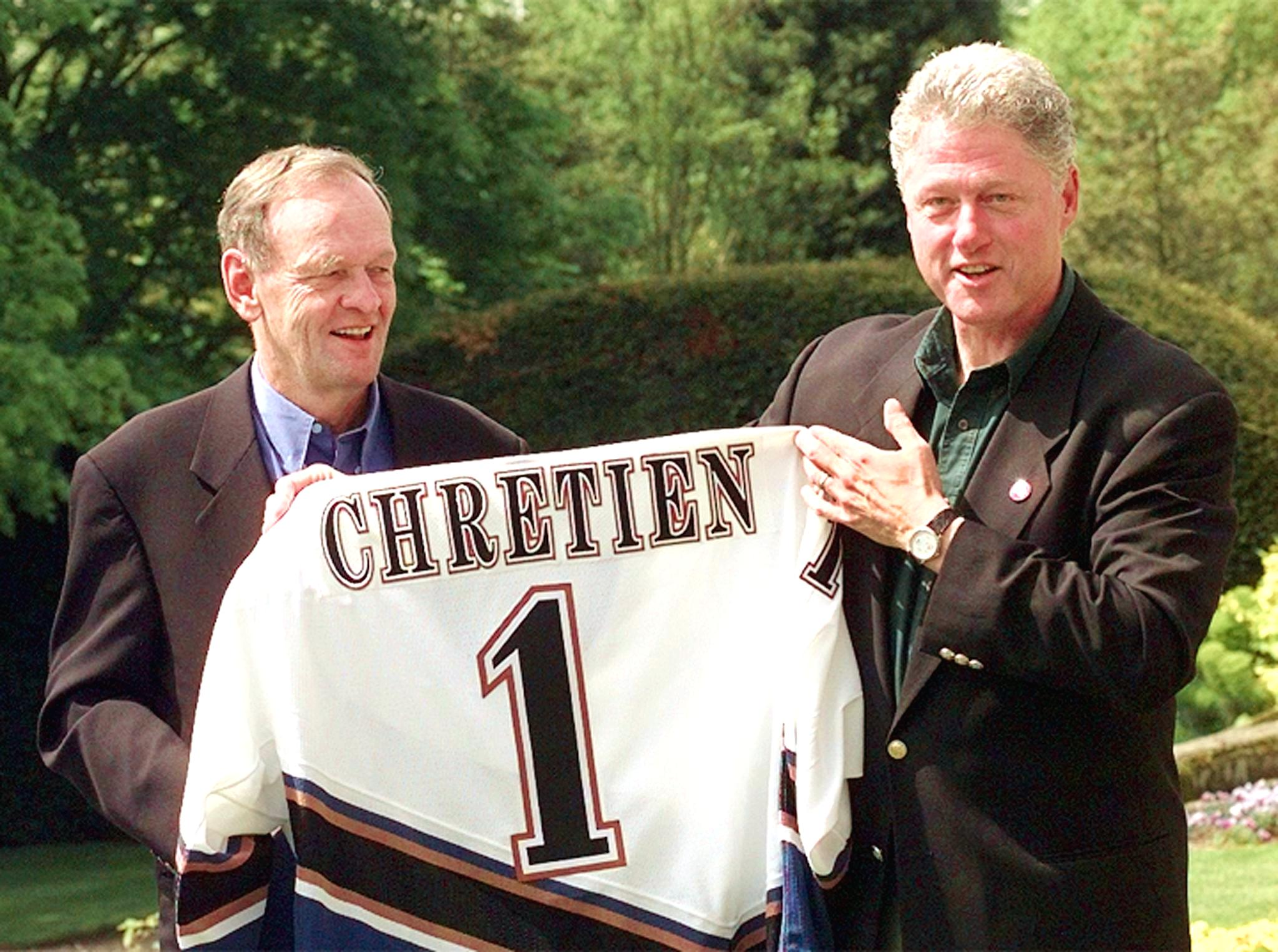 US President Bill Clinton presents Canadian Prime