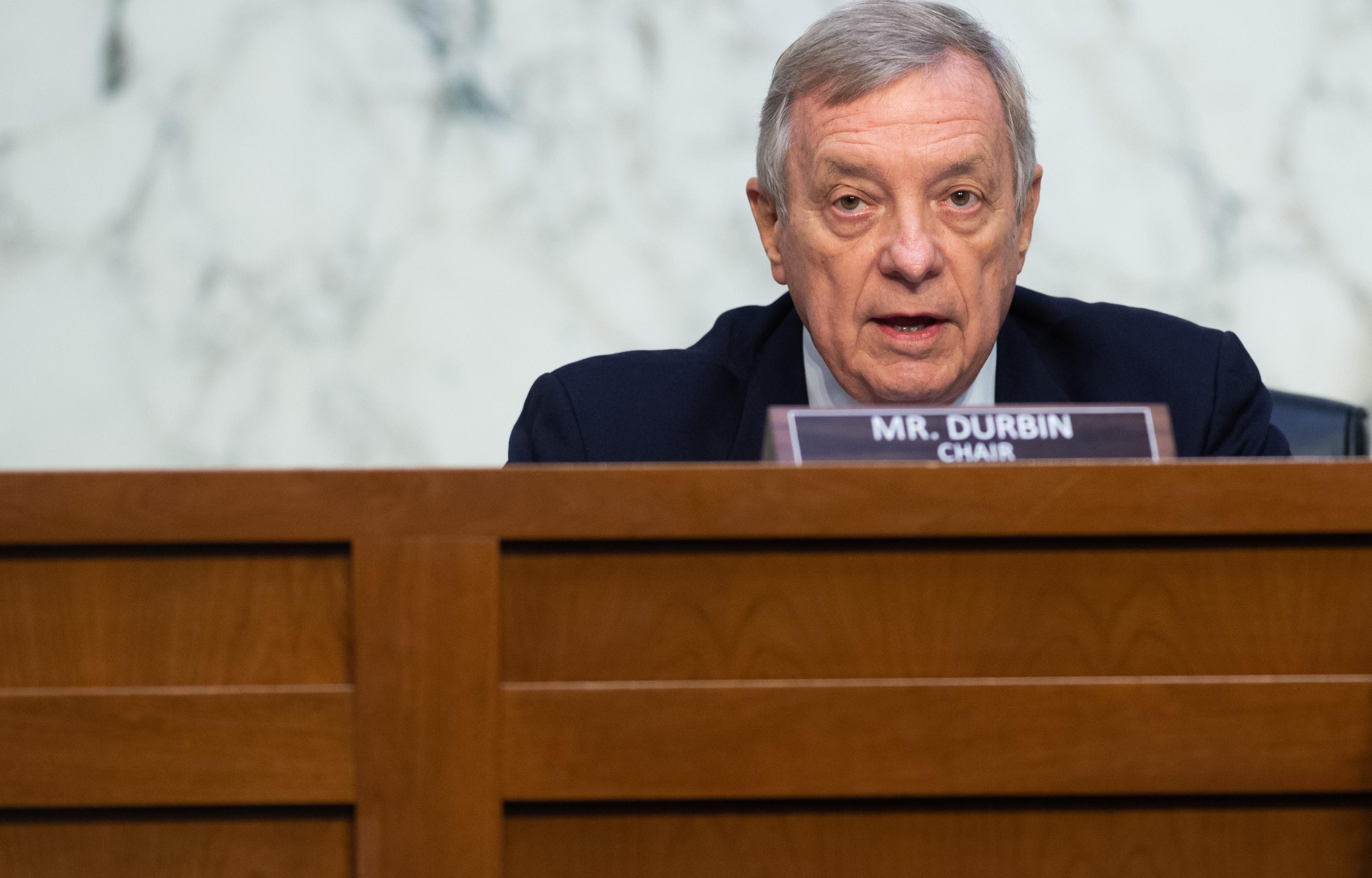 Sen. Dick Durbin, D-Ill., chairman of the Senate Judiciary Committee, preside over a hearing