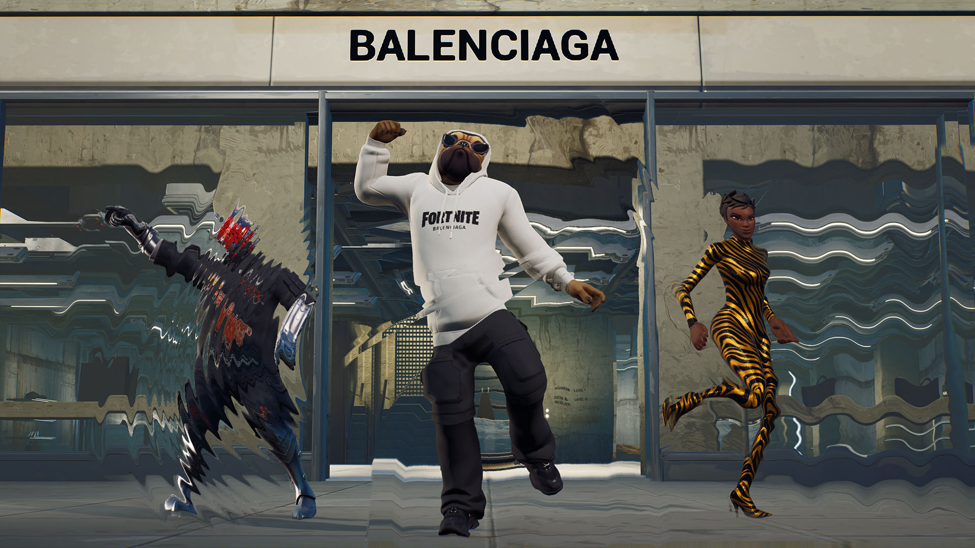 a pug from Fortnite wearing a white hoodie in front of a Balenciaga storefront