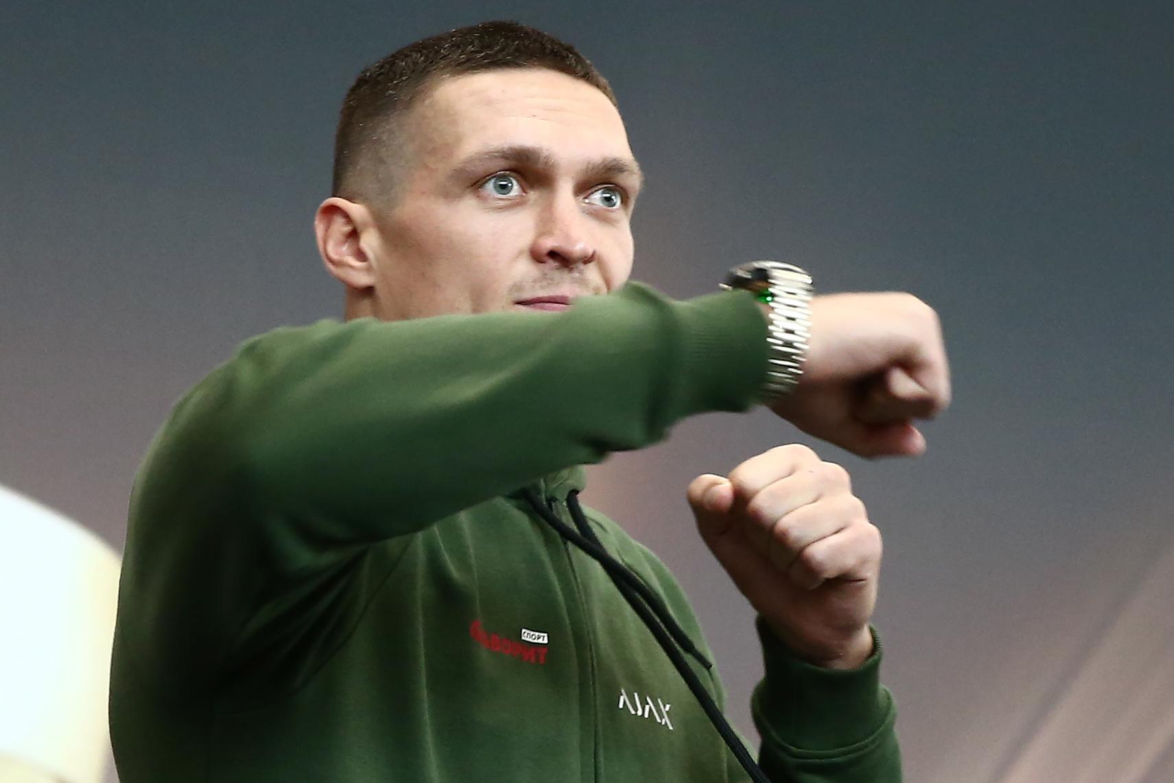 Ukrainian boxer Oleksandr Usyk gives open training session