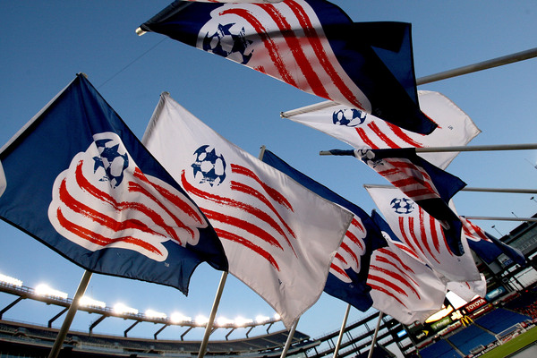 FOXBORO, MA - APRIL 10: New England Revolution flags are displayed before a game between the New England Revolution and the Toronto FC at Gillette Stadium on April 10, 2010 in Foxboro, Massachusetts. (Photo by Jim Rogash/Getty Images)