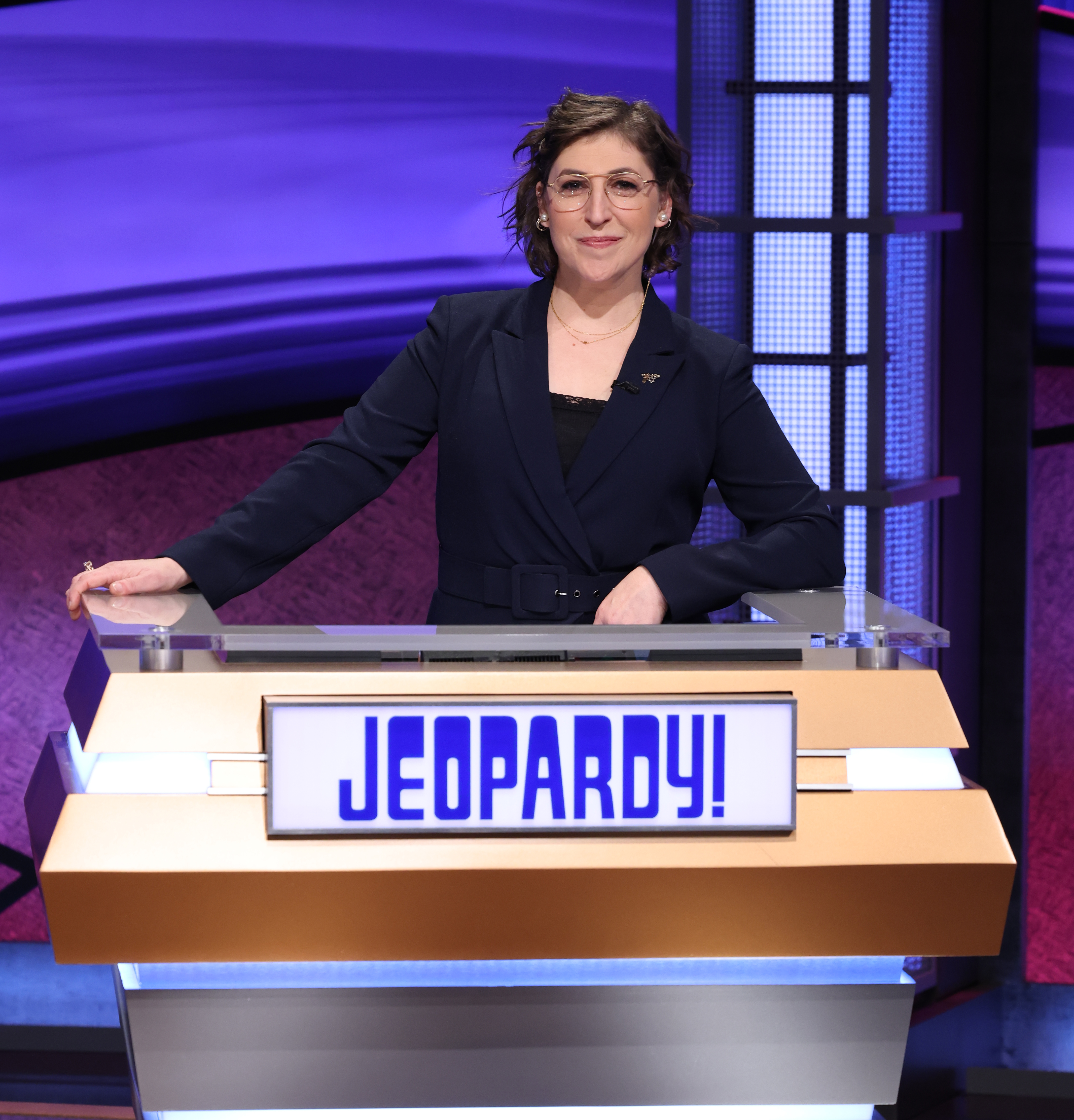 """Mayim Bialik on the set of """"Jeopardy!"""""""