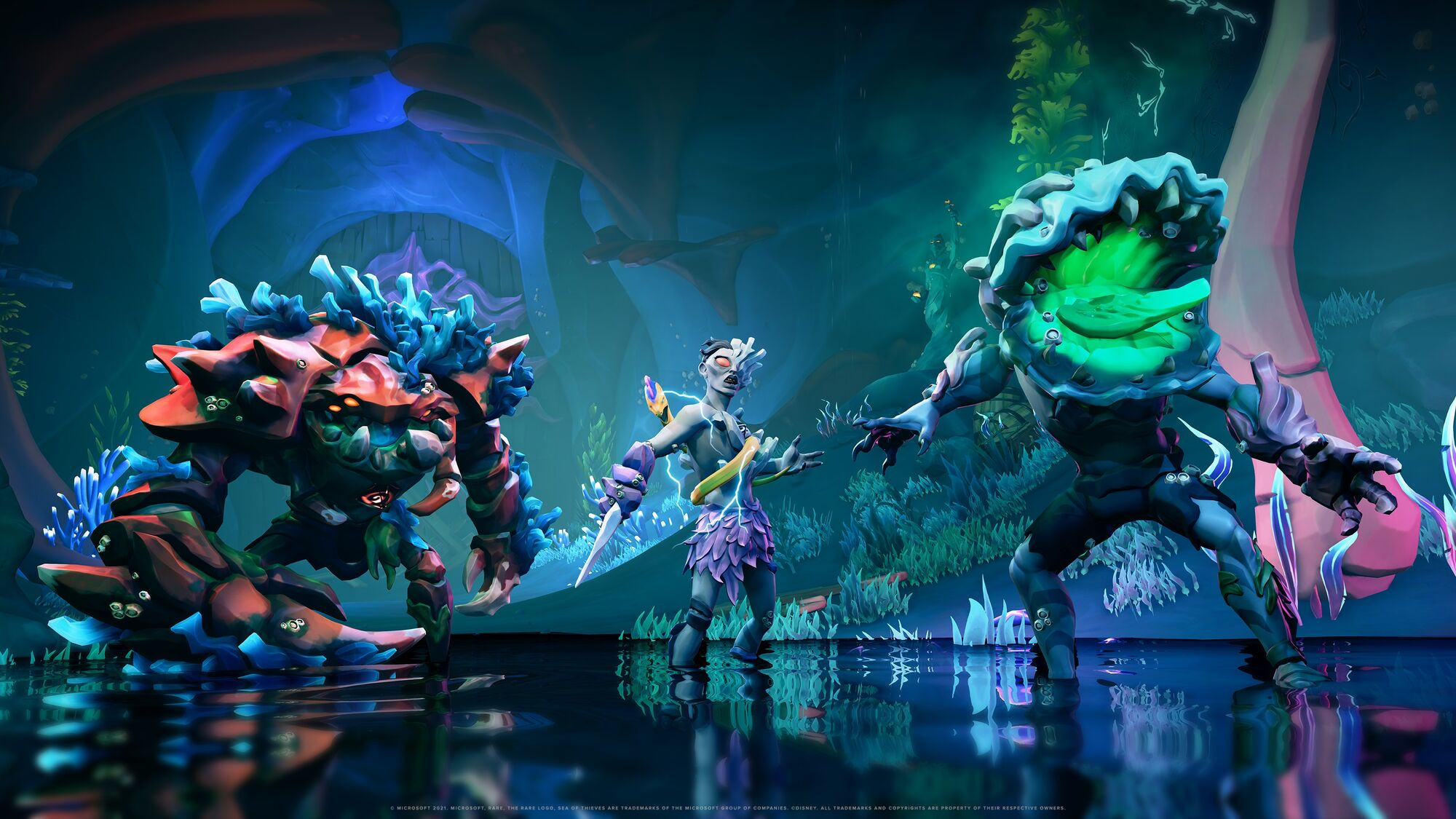 Sea of Thieves -an assortment of underwater enemies, including the scary coral beast.