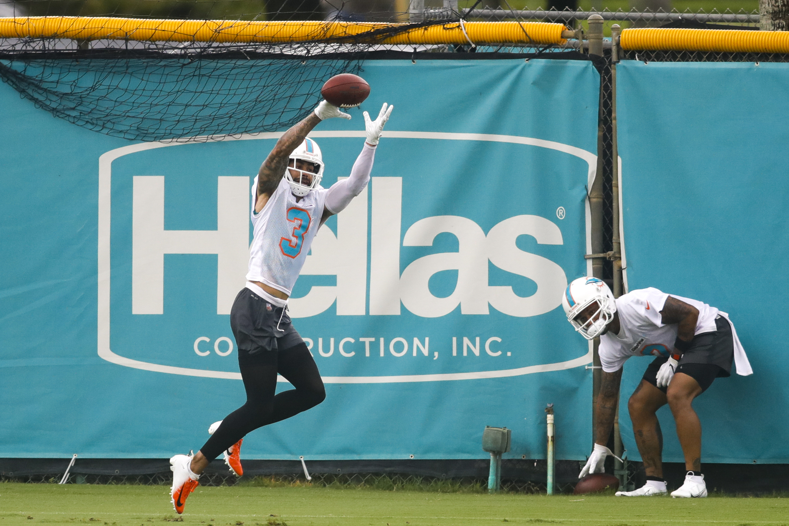 Miami Dolphins wide receiver Will Fuller (3) makes a catch during minicamp at Baptist Health Training Facility.