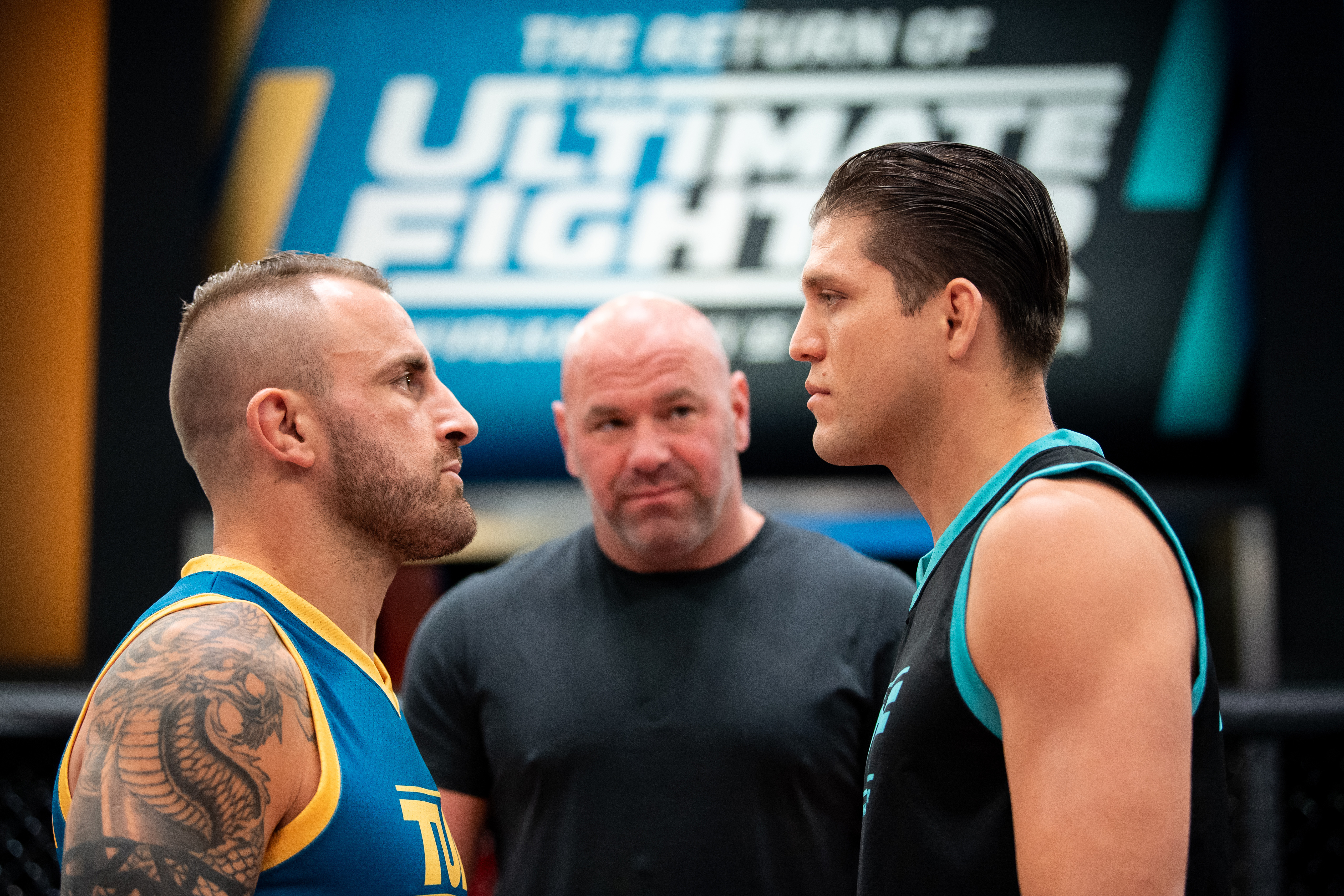 Alexander Volkanovski and Brian Ortega face off during the filming of The Return of The Ultimate Fighter at UFC APEX on May 20, 2021 in Las Vegas, Nevada.