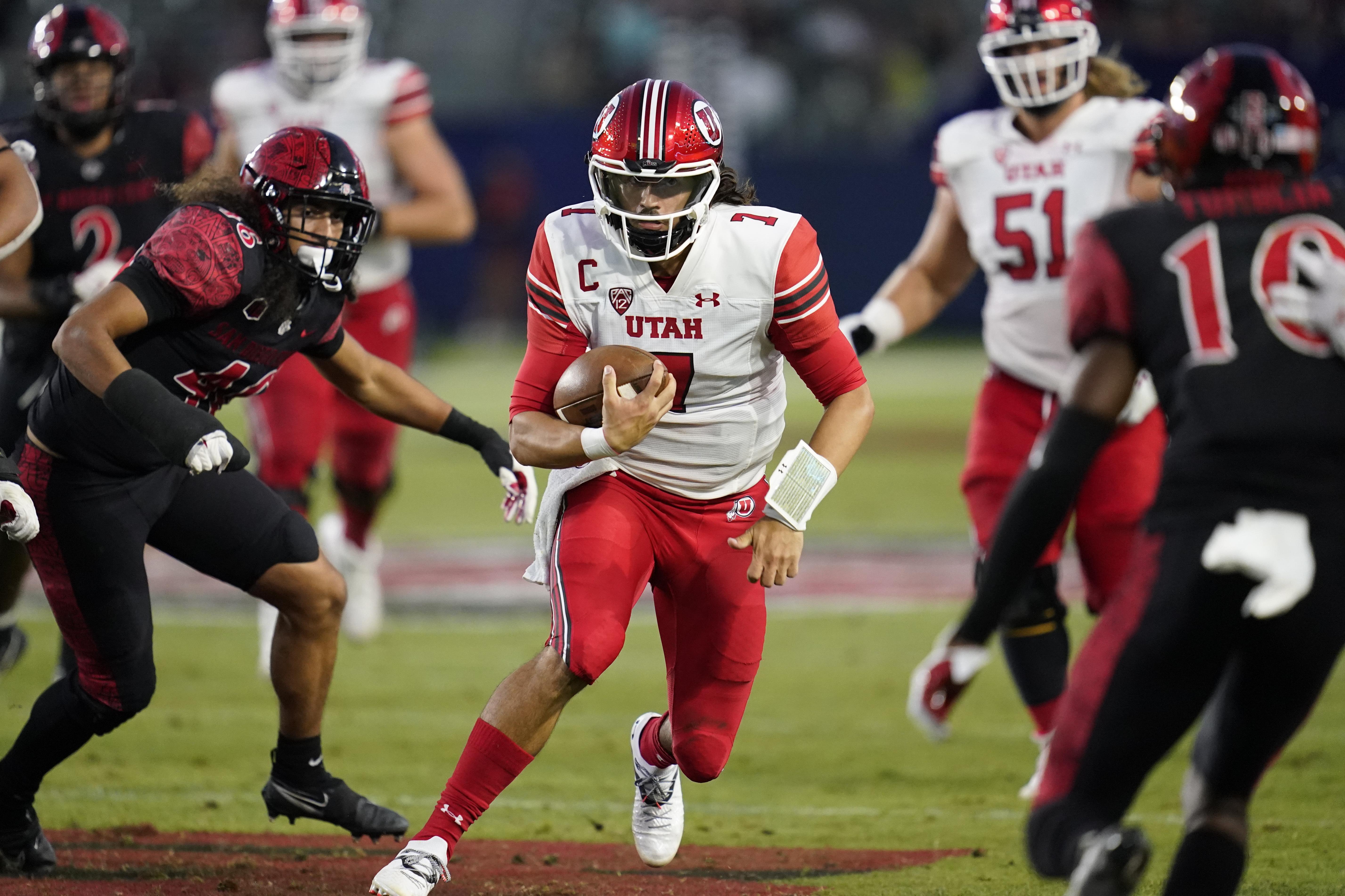 Utah quarterback Cameron Rising runs the ball during a game against San Diego State Saturday, Sept. 18, 2021, in Carson, Calif.