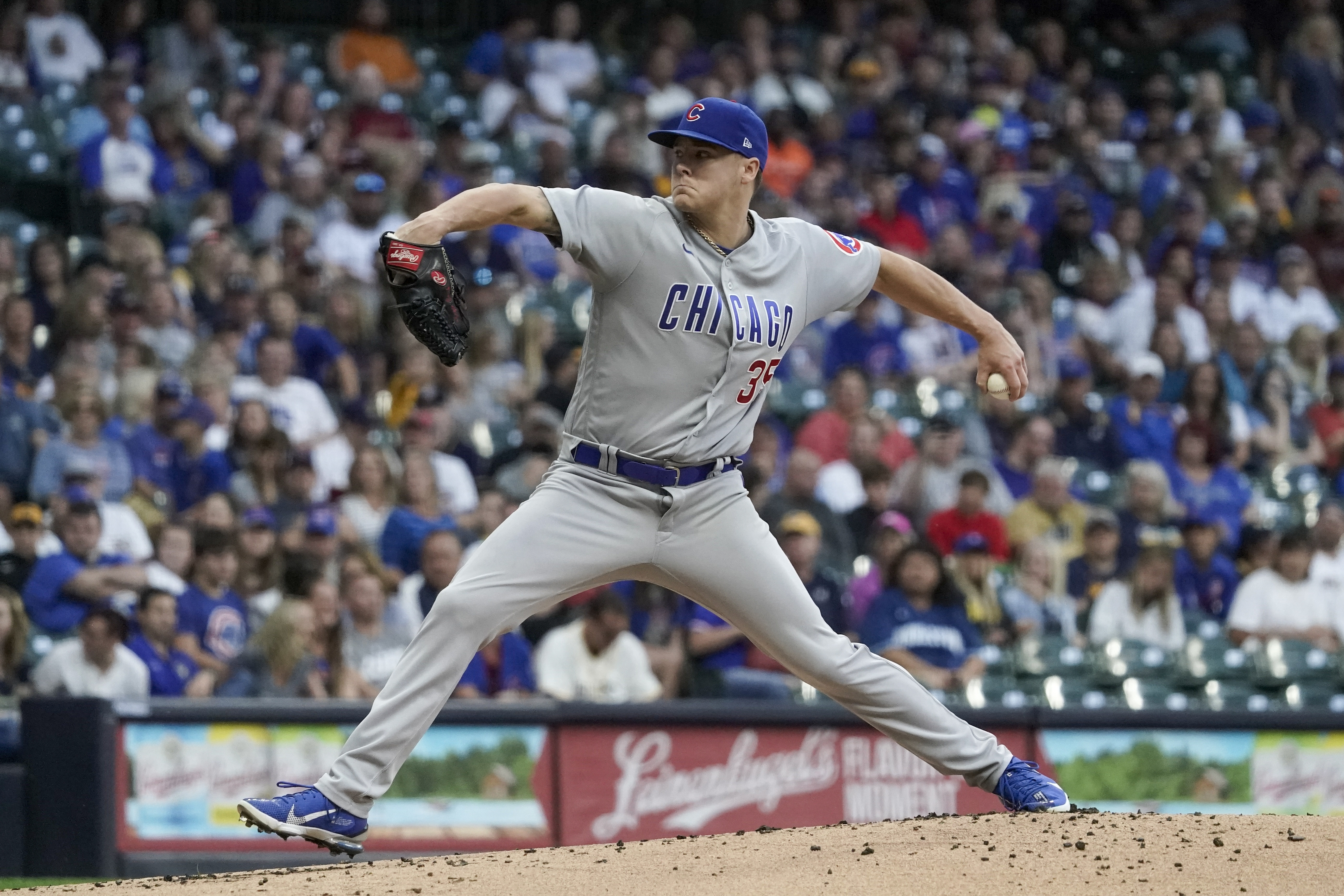 Chicago Cubs starting pitcher Justin Steele throws during the first inning of a baseball game against the Milwaukee Brewers Saturday, Sept. 18, 2021, in Milwaukee. (AP Photo/Morry Gash) ORG XMIT: WIMG107