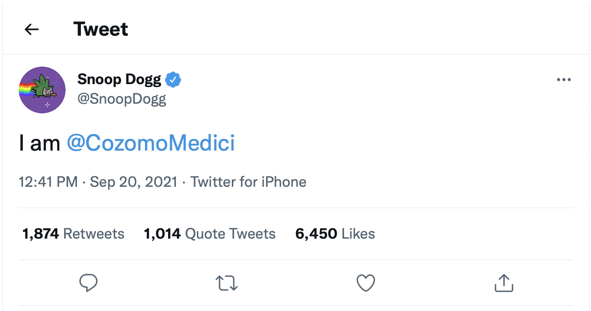 Screenshot of Snoop Dogg's tweet claiming to be Cozomo Medici