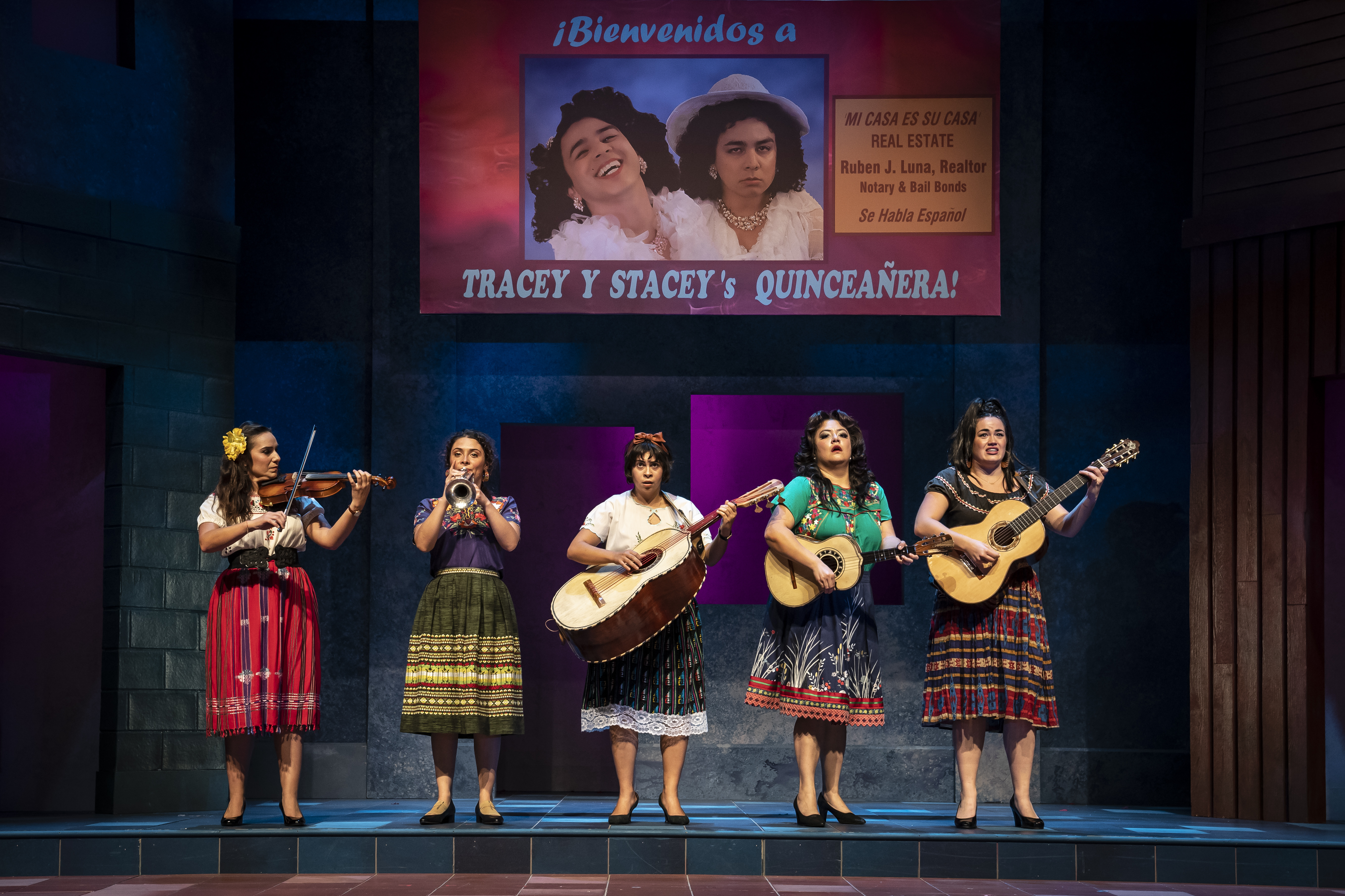 """Tiffany Solano (from left) Molly Hernández, Amanda Raquel Martinez, Gloria Vivica Benavides and Lucy Godínez are shown in a scene from """"American Mariachi"""" directed by Henry Godinez at Goodman Theatre."""