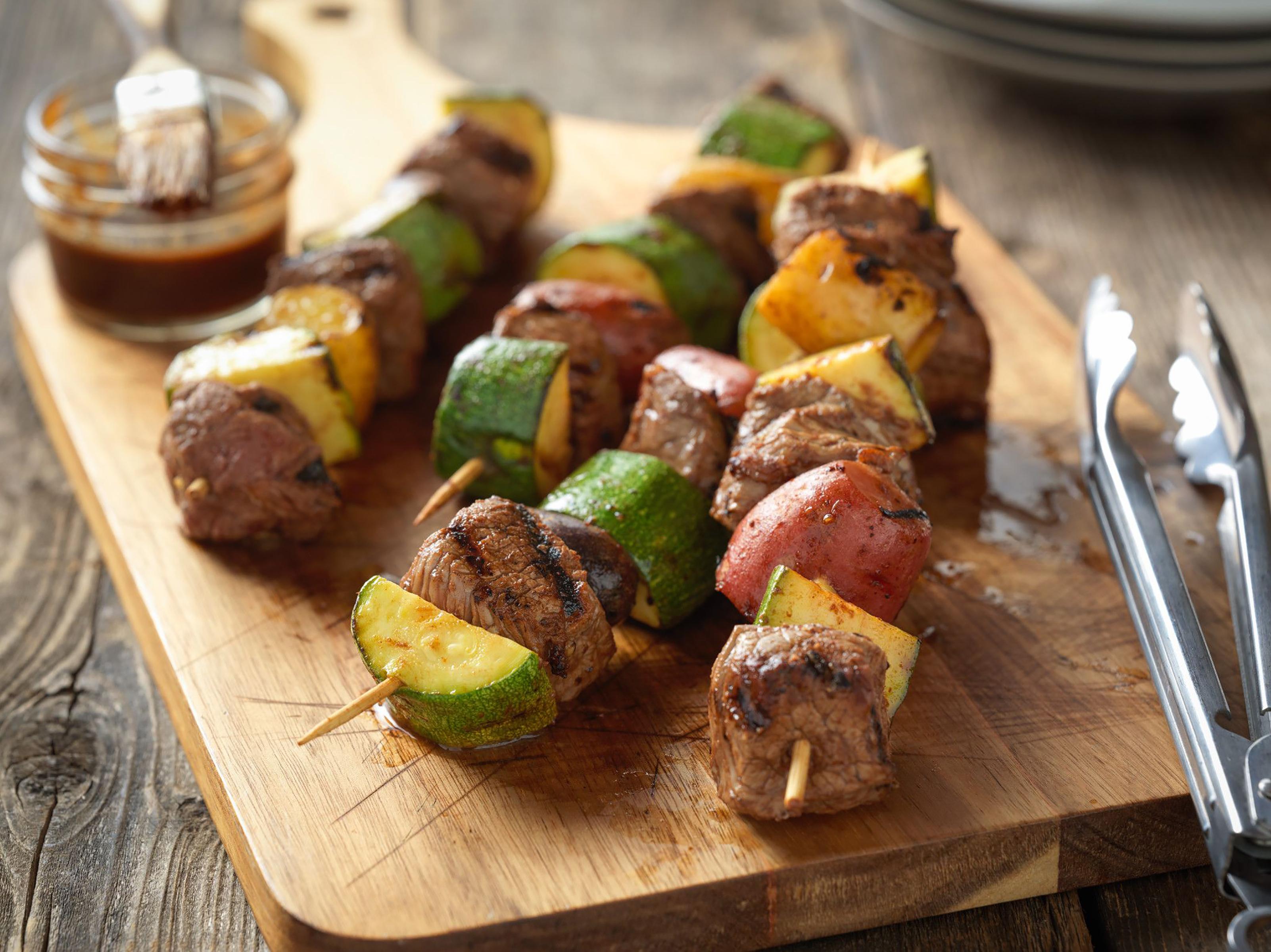 Top sirloin and potato kebabs.