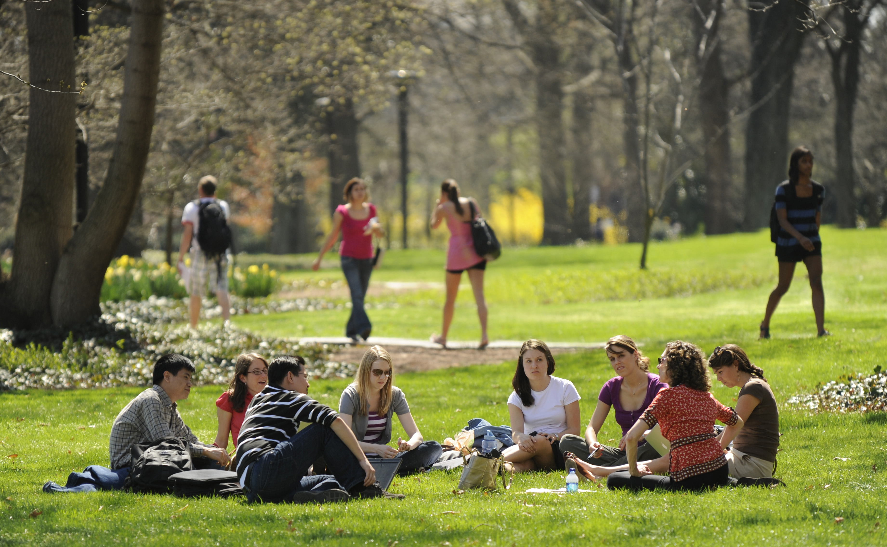 People sitting in a circle on a campus lawn on a sunny day.