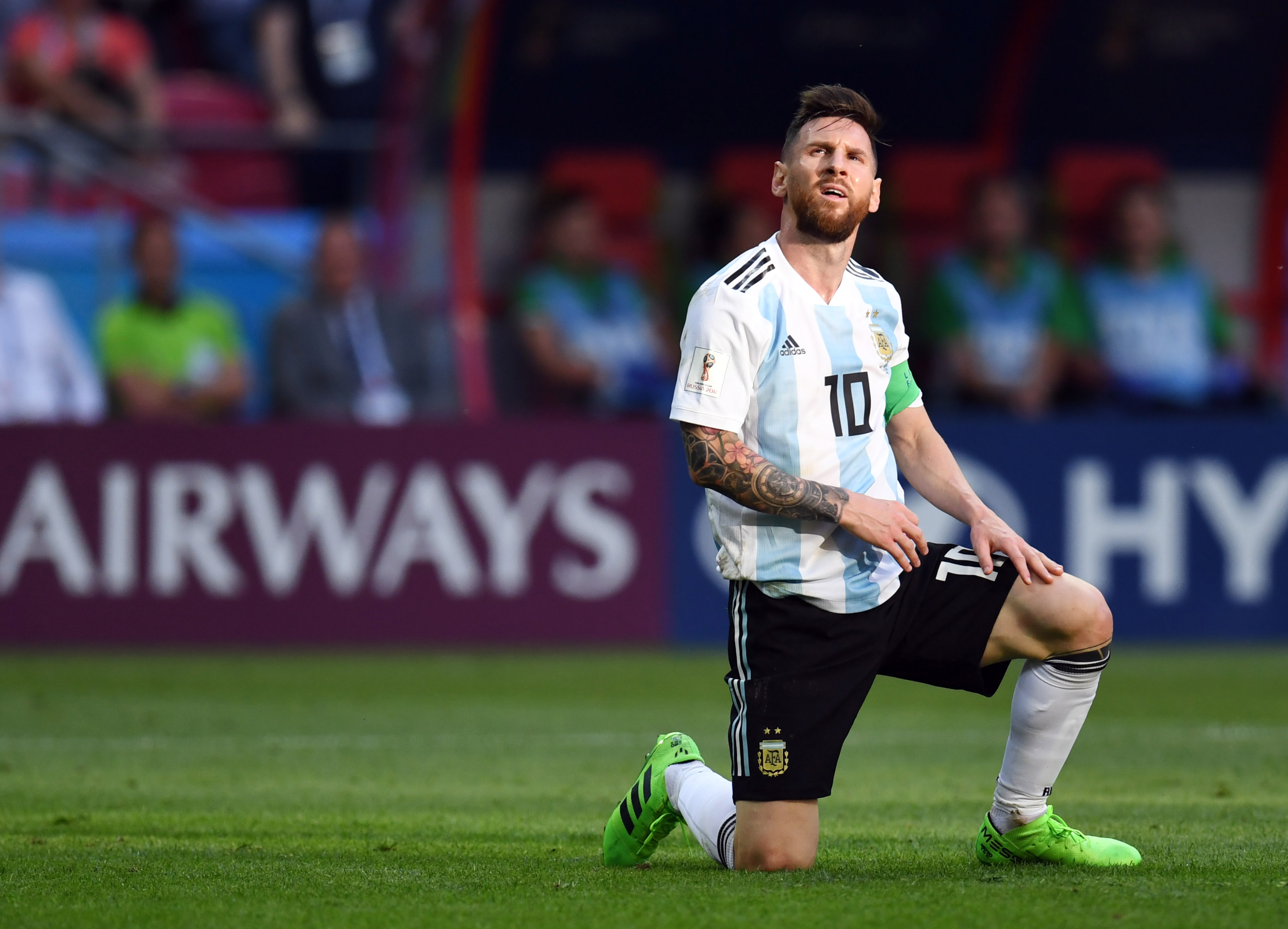 Argentina forward Lionel Messi (10) reacts in the round of 16 game against France during the FIFA World Cup 2018 at Kazan Stadium.