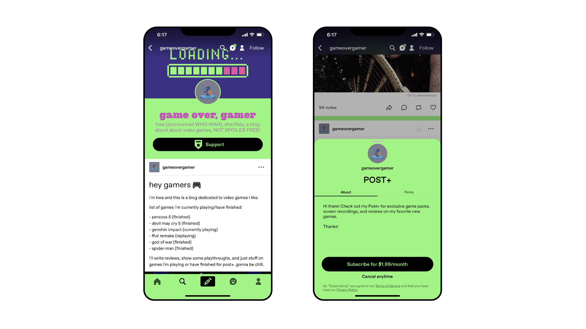 """Two Tumblr app screenshots of a blog titled """"game over, gamer"""". The first shows an introductory post with a list of games and examples of content like reviews and playthroughs. The second shows a Post Plus subscription page that says """"subscribe for $1.99/ month, cancel anytime""""."""